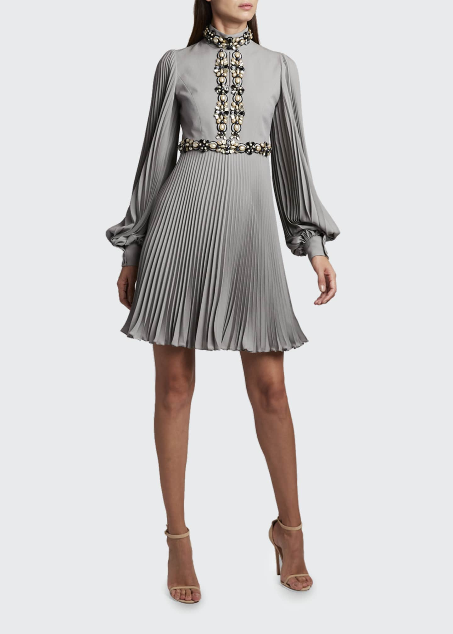 Image 1 of 2: High-Neck Puff-Sleeve Dress