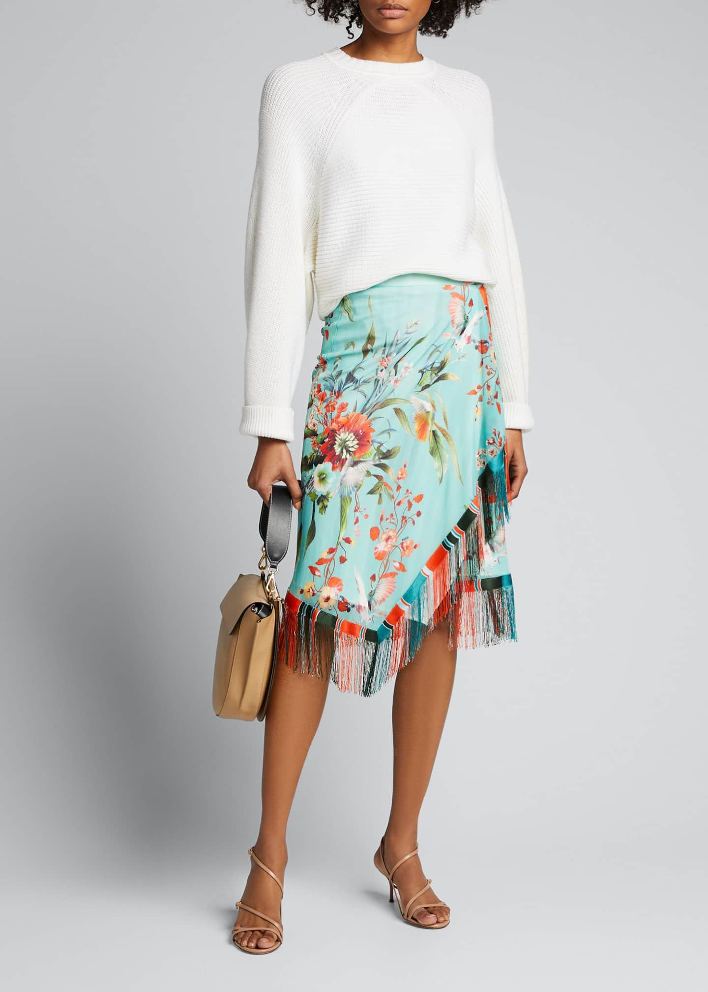 Fuzzi Floral Print Asymmetrical Fringe Skirt