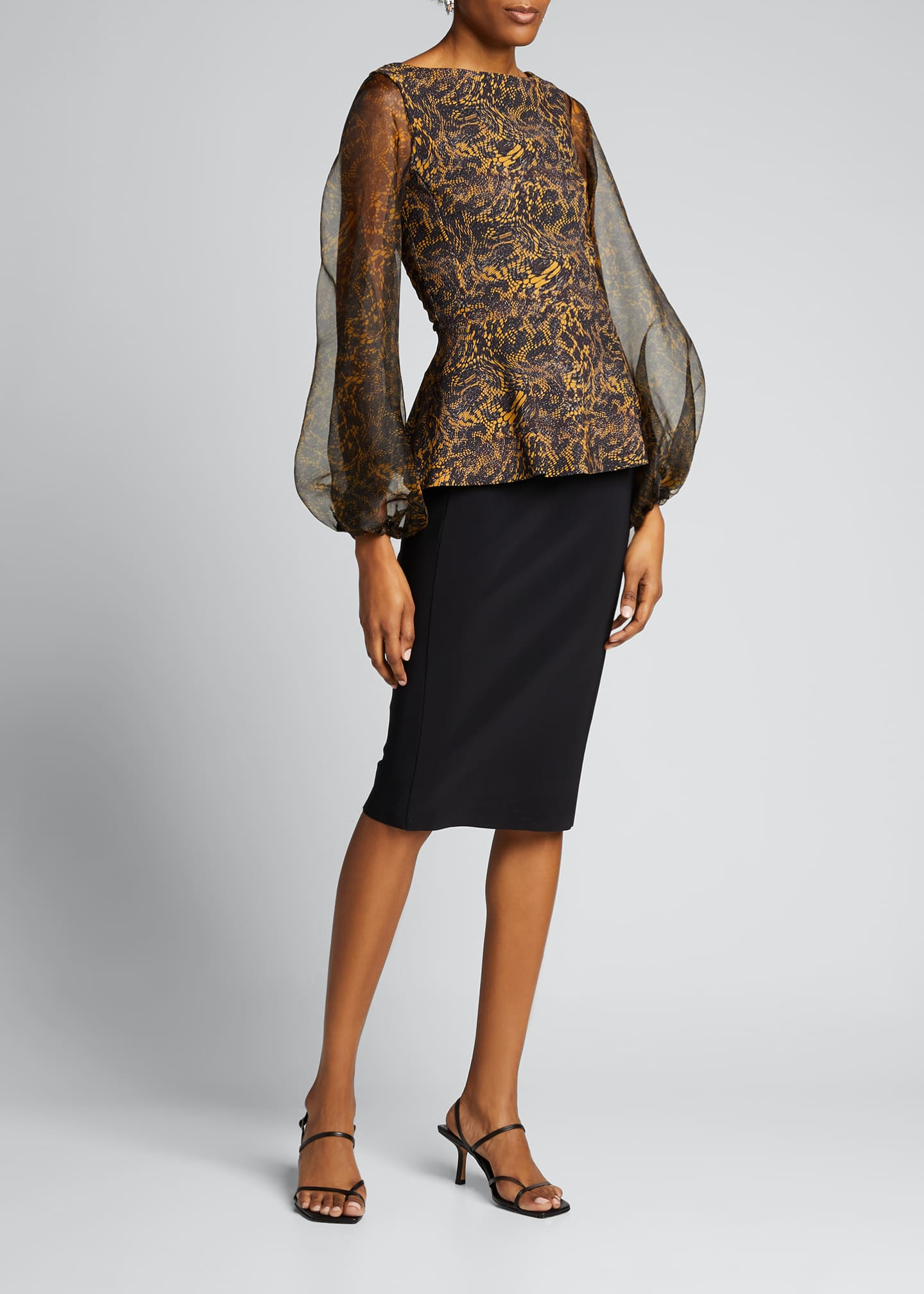 Image 3 of 5: Hasana Printed Organza Sheer-Sleeve Peplum Dress