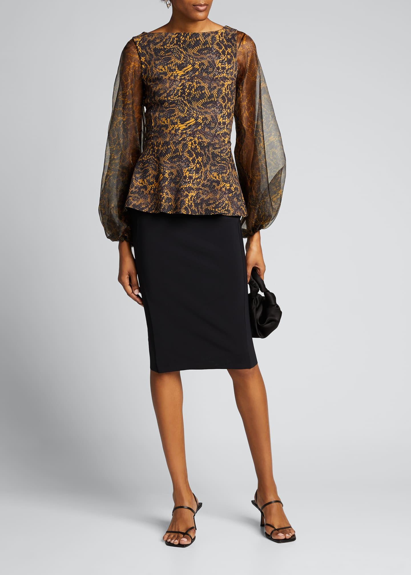 Image 1 of 5: Hasana Printed Organza Sheer-Sleeve Peplum Dress