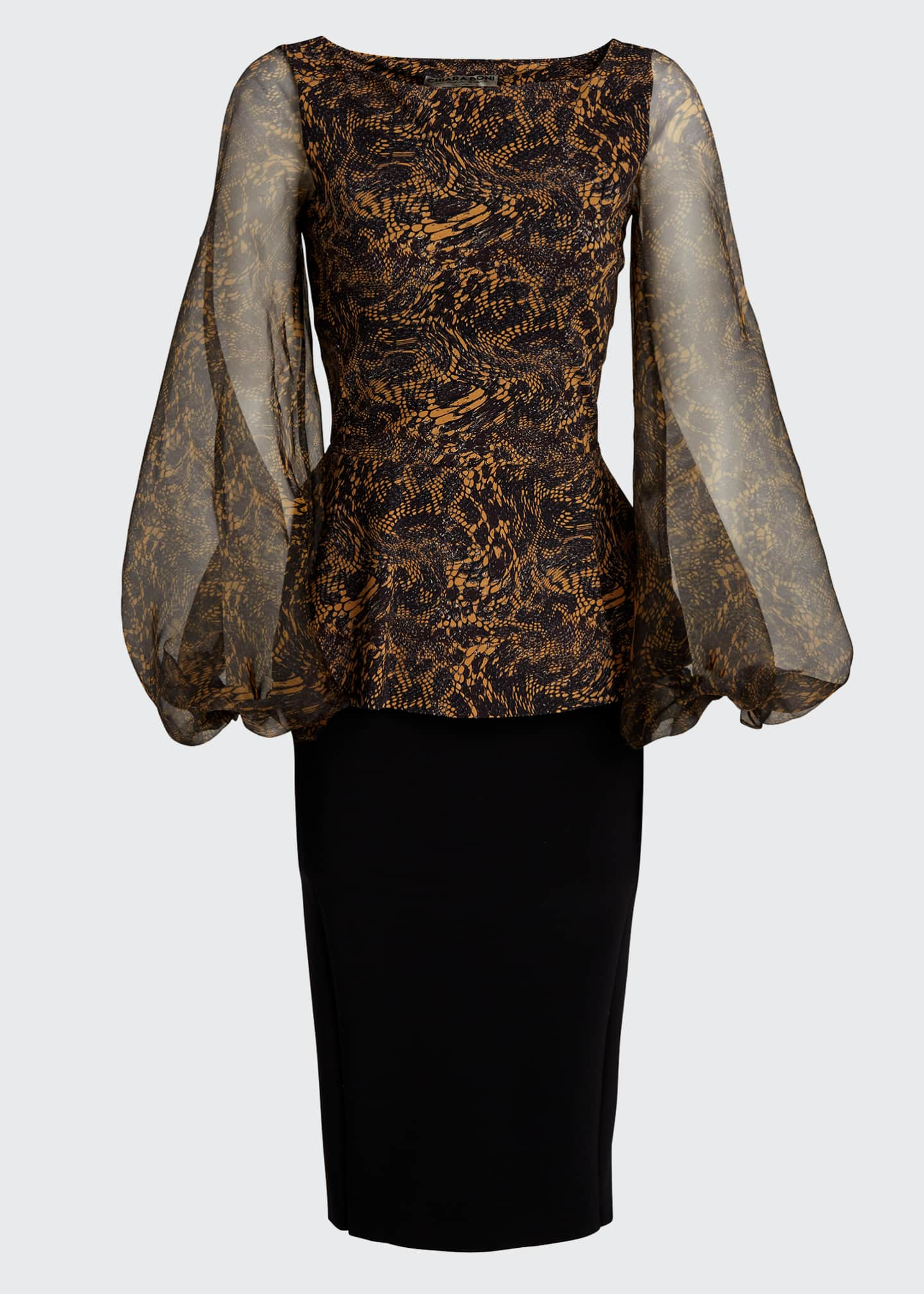 Image 5 of 5: Hasana Printed Organza Sheer-Sleeve Peplum Dress