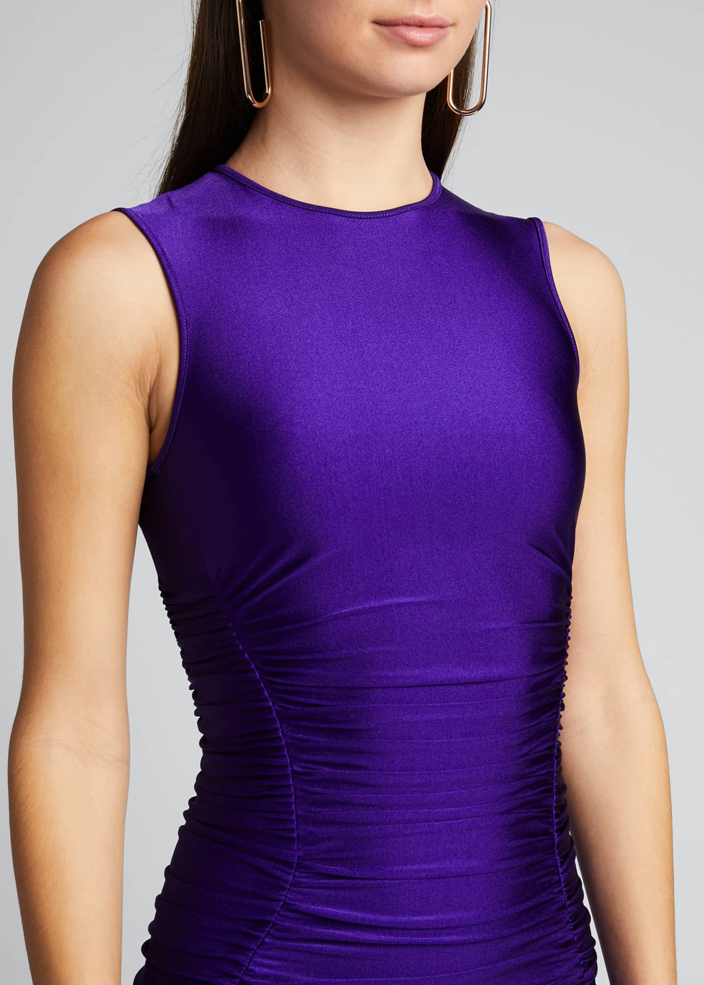 Image 4 of 5: Ruffle-Hem Satin Bodycon Dress