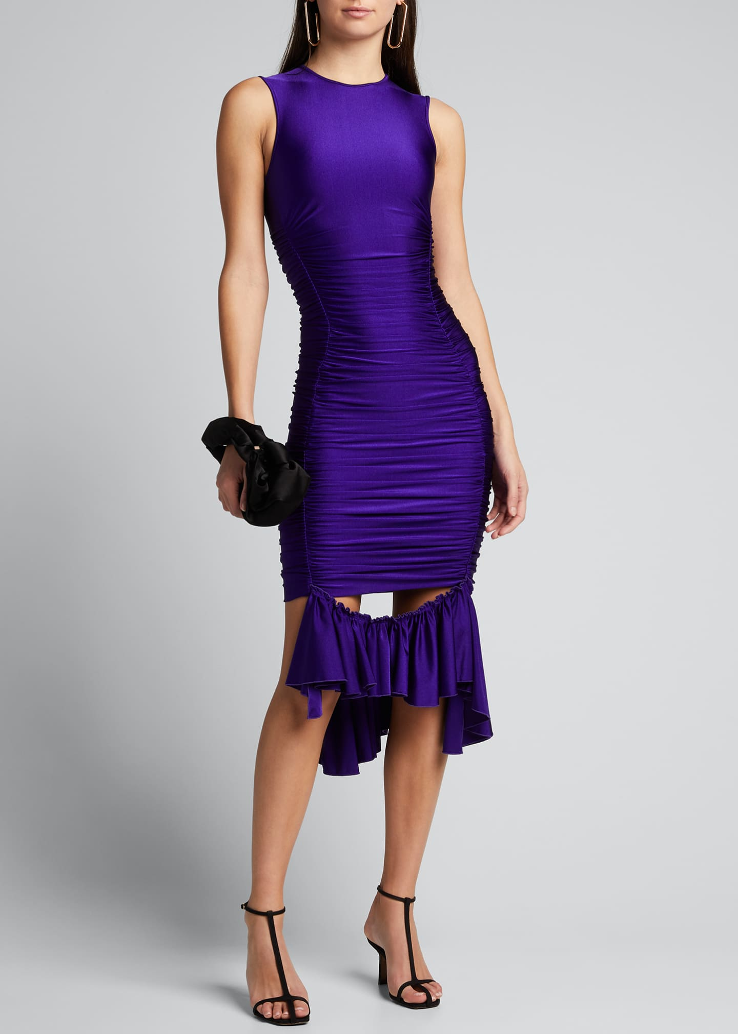 Image 1 of 5: Ruffle-Hem Satin Bodycon Dress