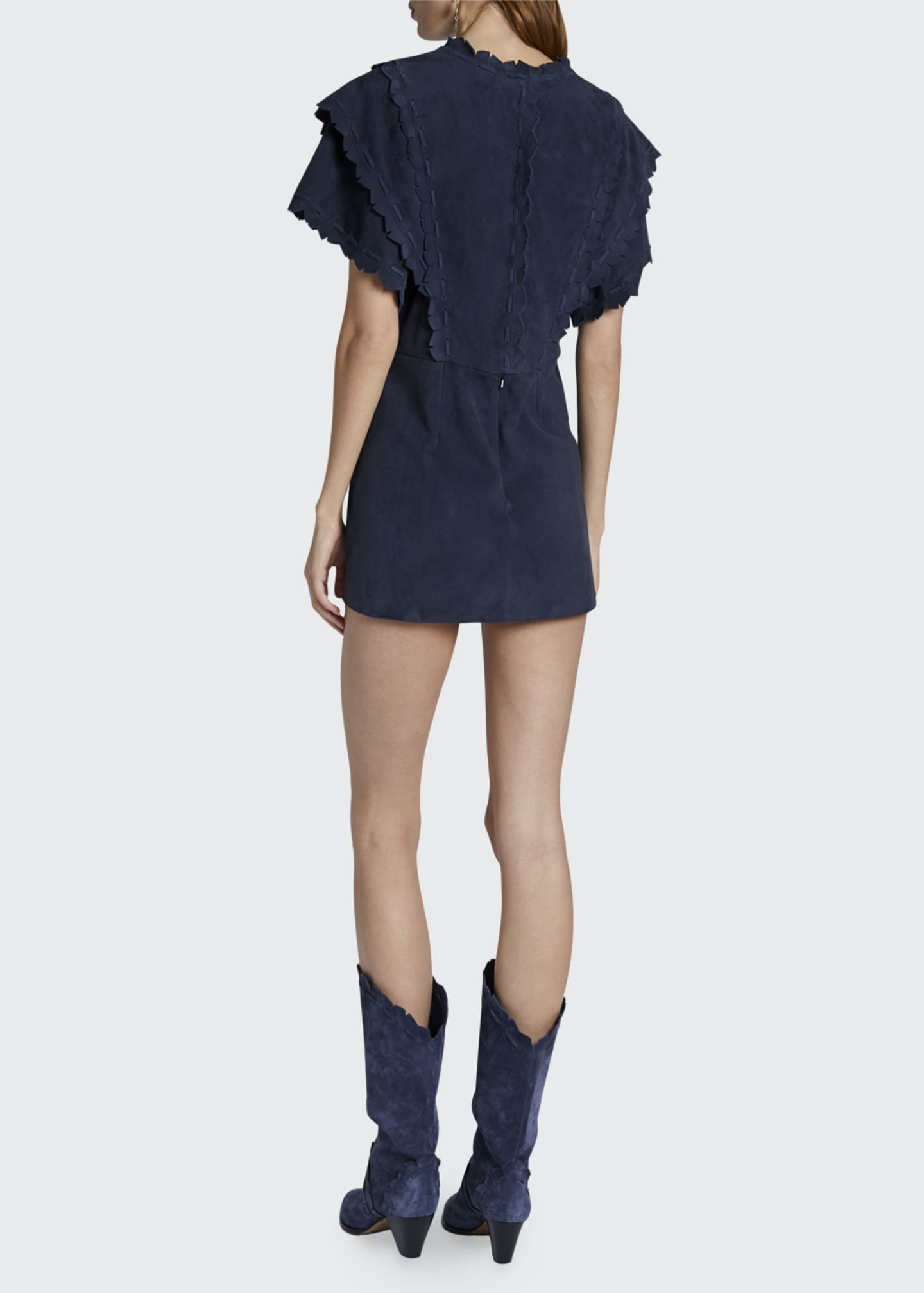 Image 2 of 2: Suede Ruffled Mini Dress
