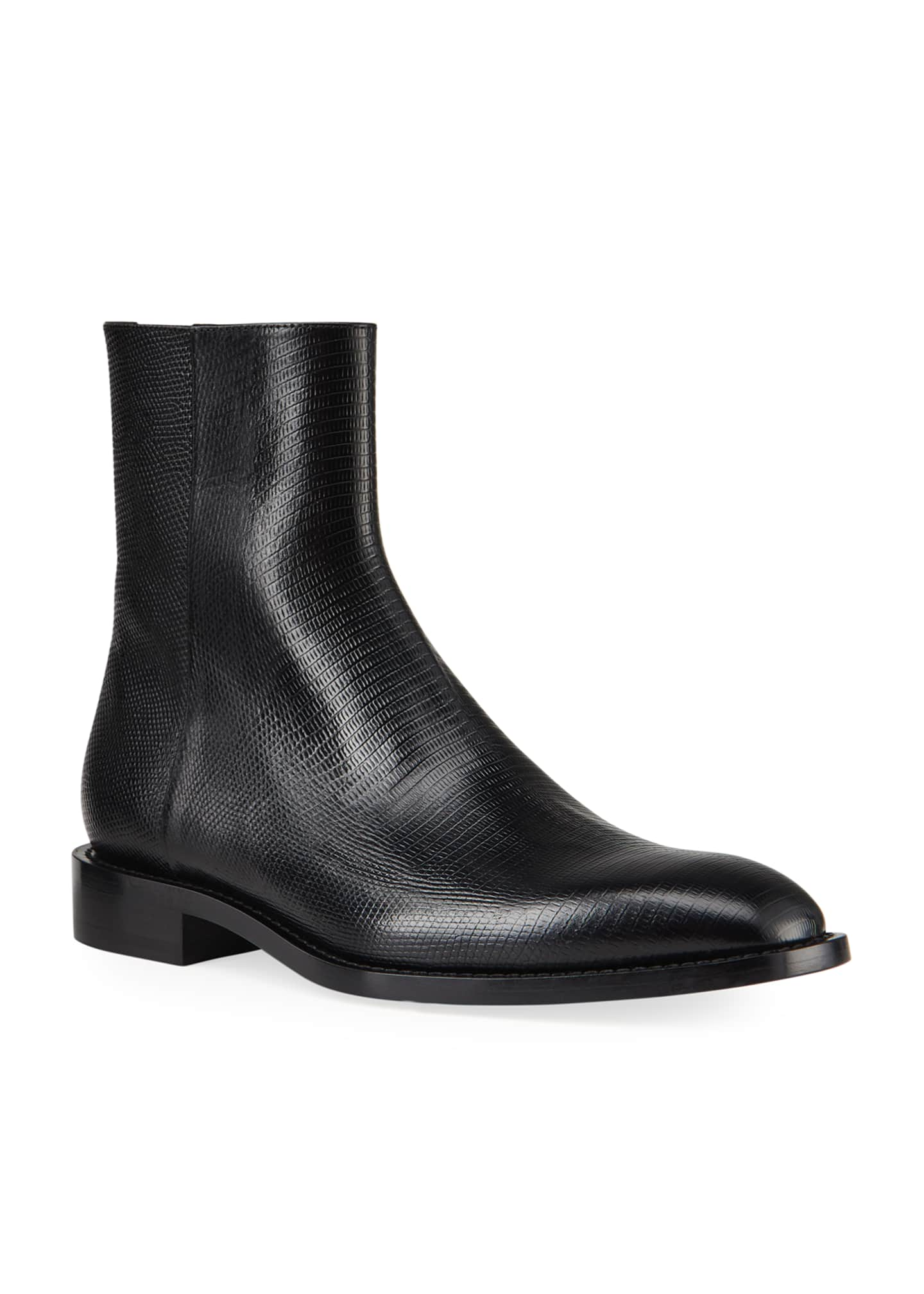 Image 2 of 4: Men's Chrystal Textured Leather Booties