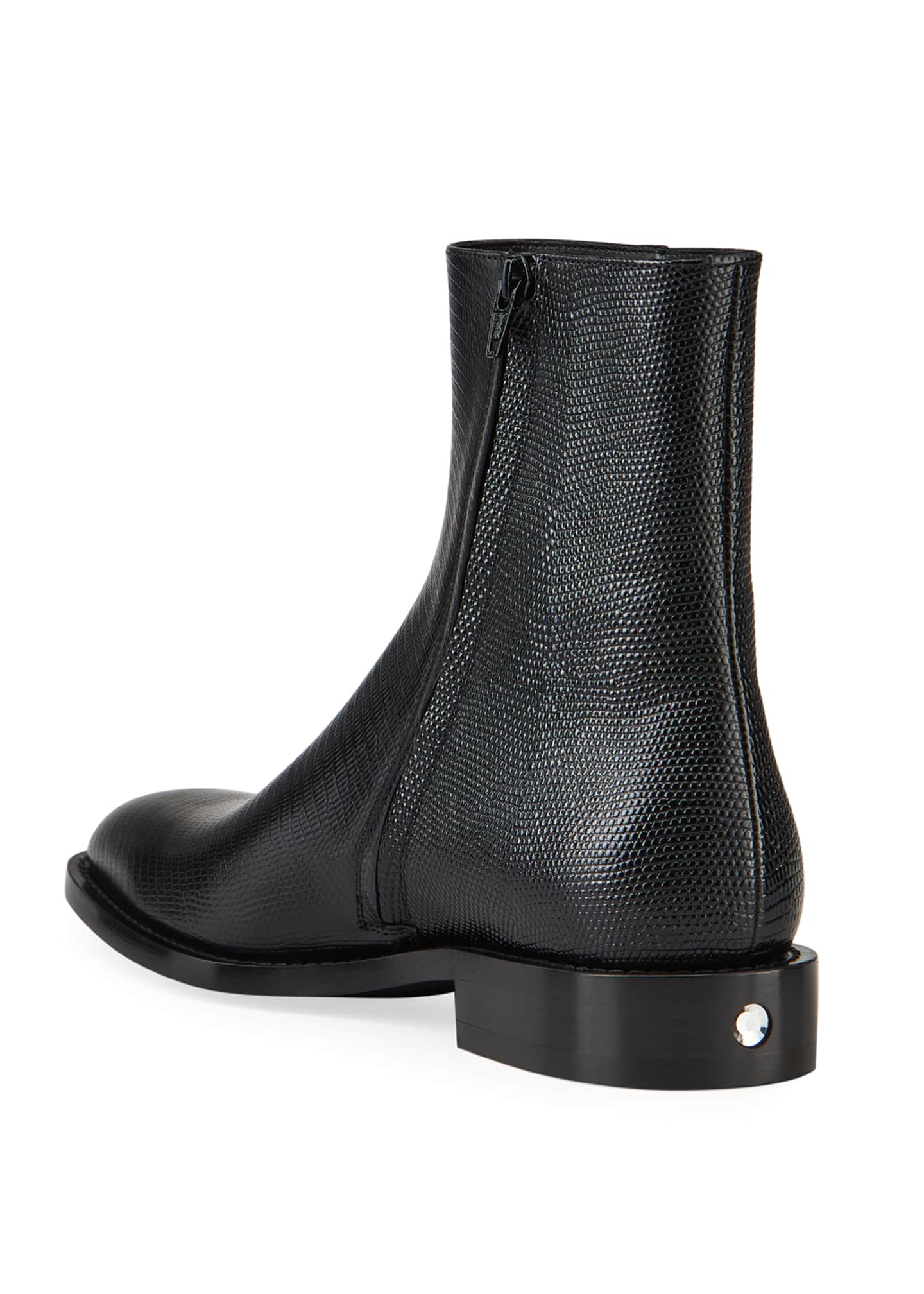 Image 3 of 4: Men's Chrystal Textured Leather Booties