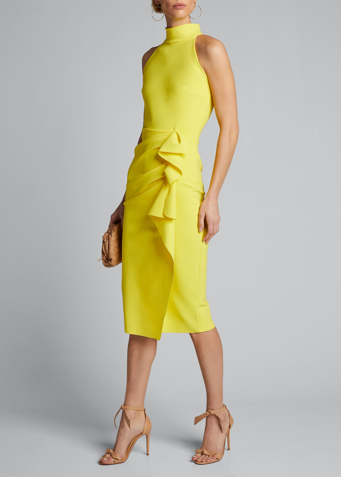 Image 1 of 4: Sleeveless Halter Ruched Dress