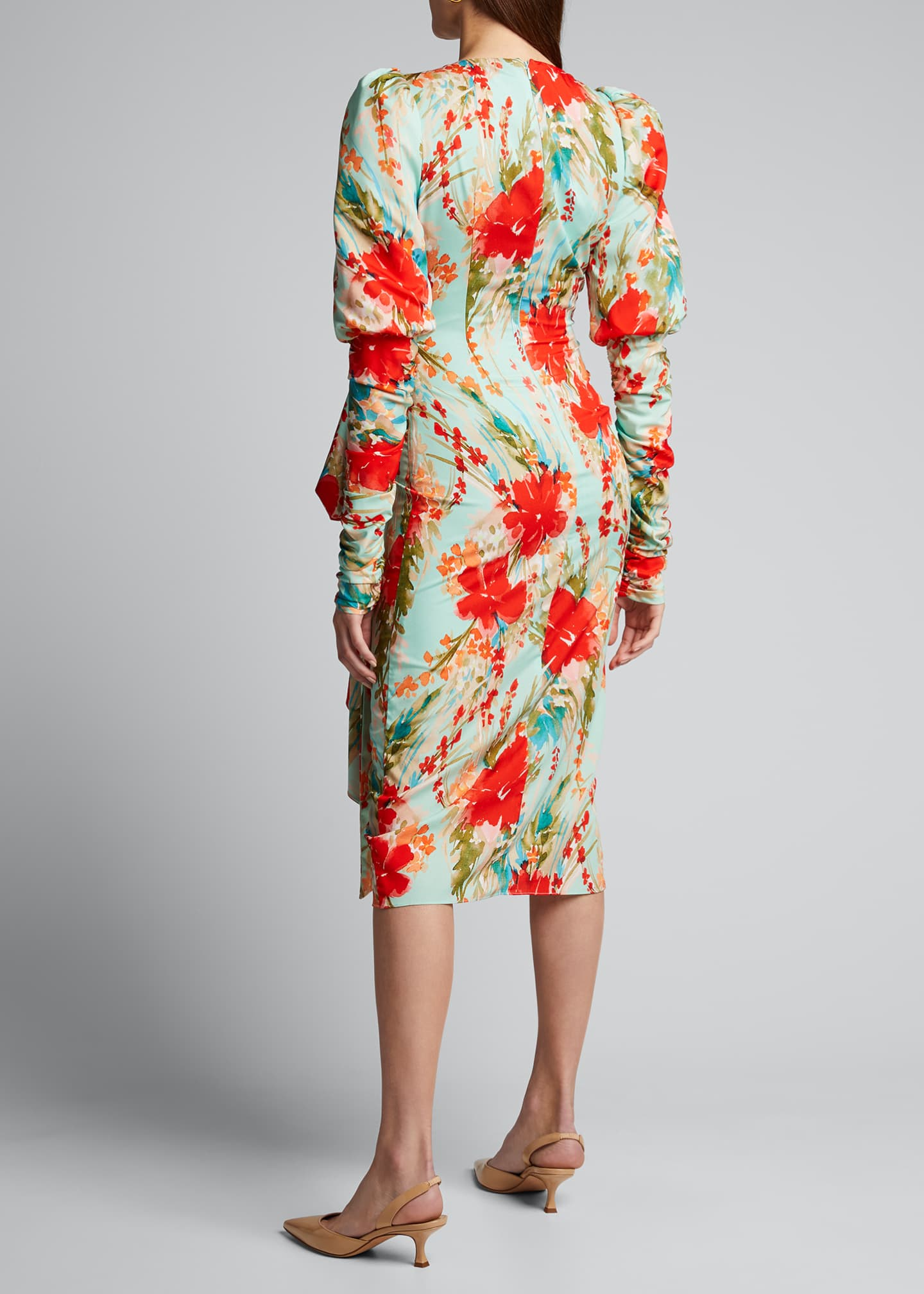 Image 2 of 5: Floral Balloon-Sleeve Dress with Side-Bow Dress