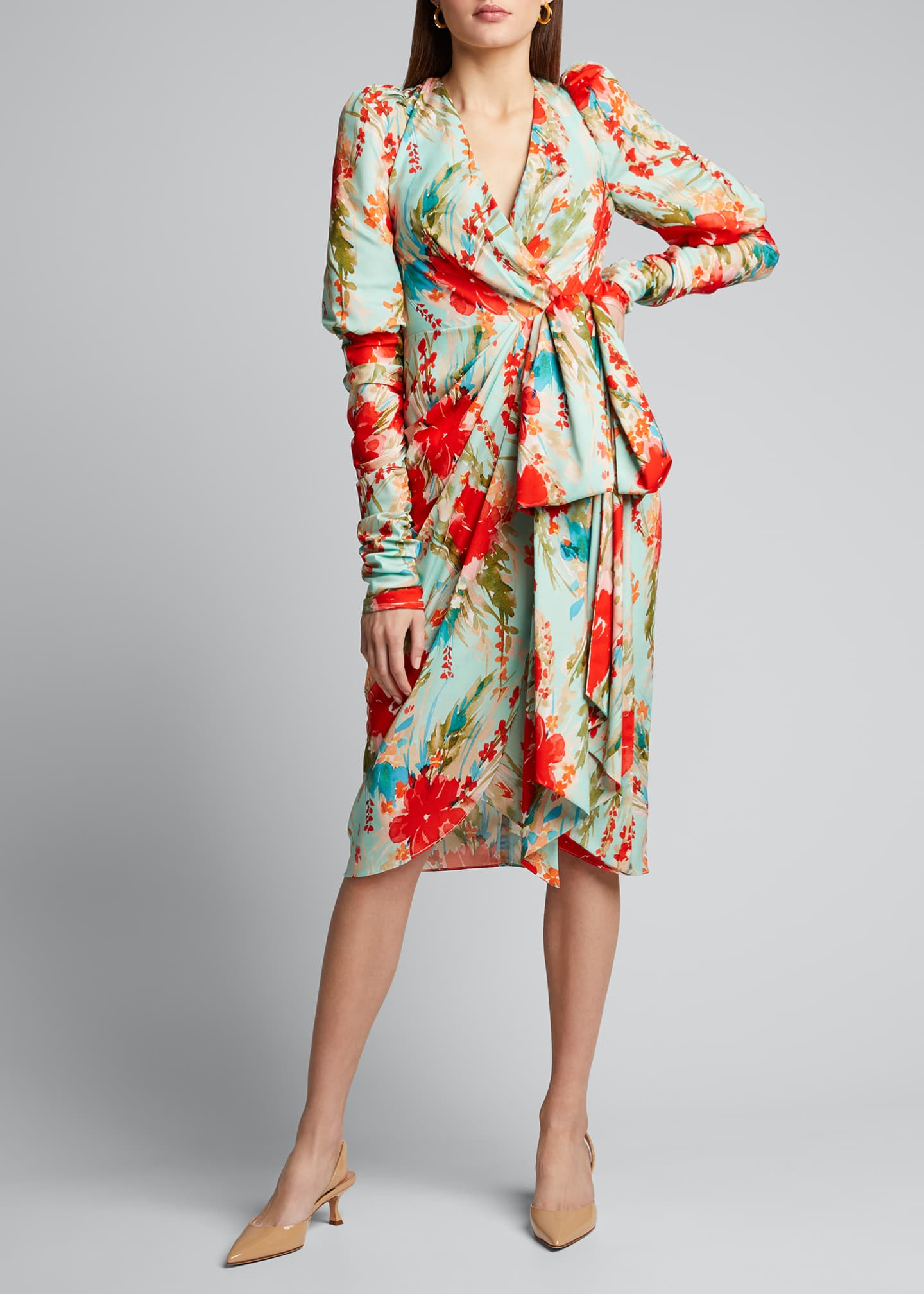 Image 3 of 5: Floral Balloon-Sleeve Dress with Side-Bow Dress