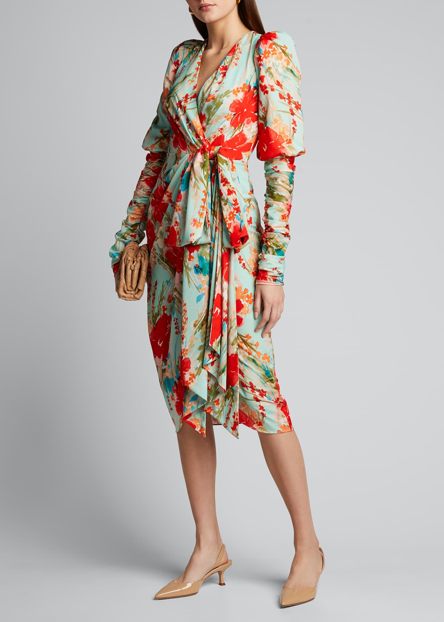 Image 1 of 5: Floral Balloon-Sleeve Dress with Side-Bow Dress