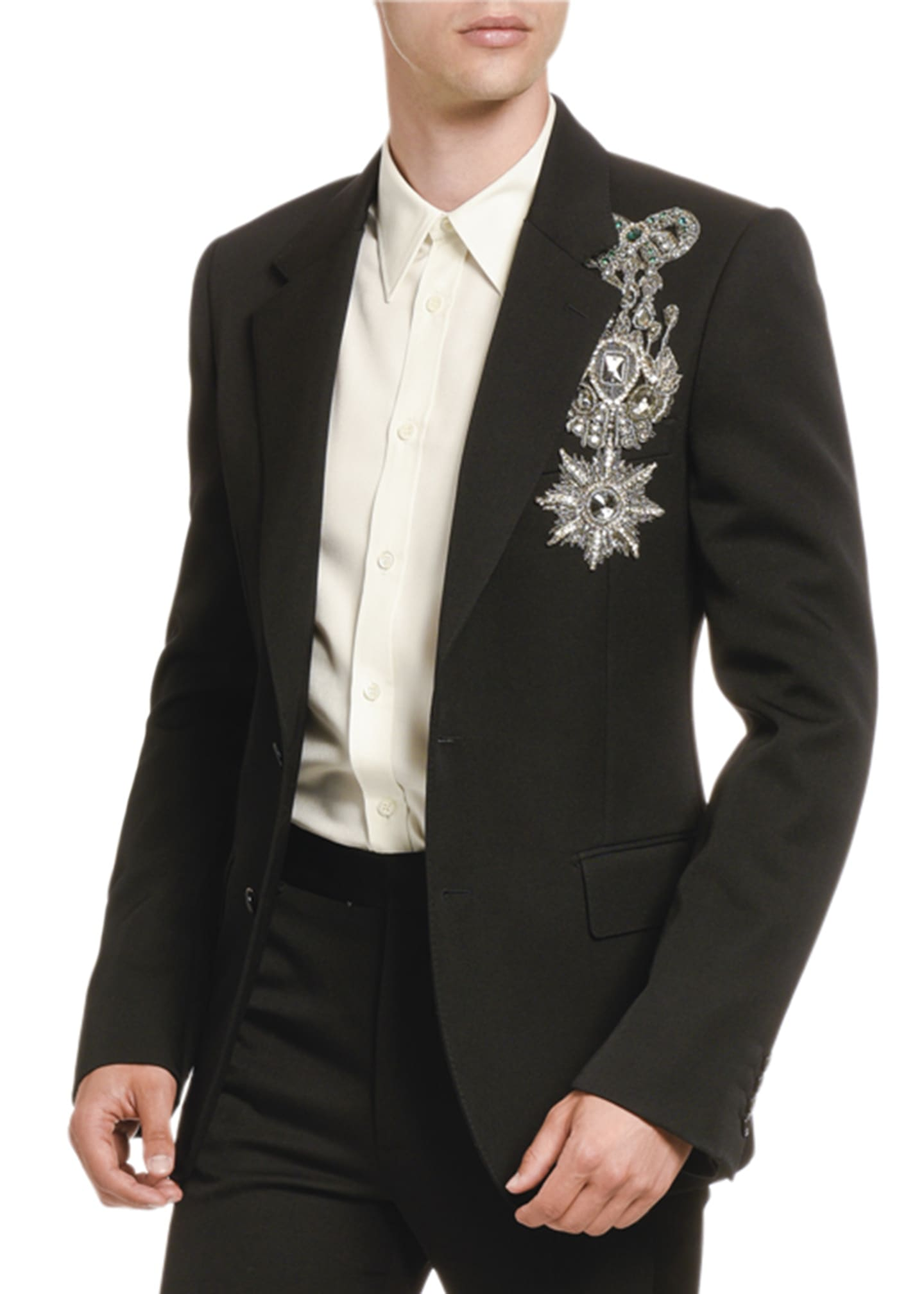 Image 1 of 2: Men's Jeweled Military Emblem Two-Button Jacket