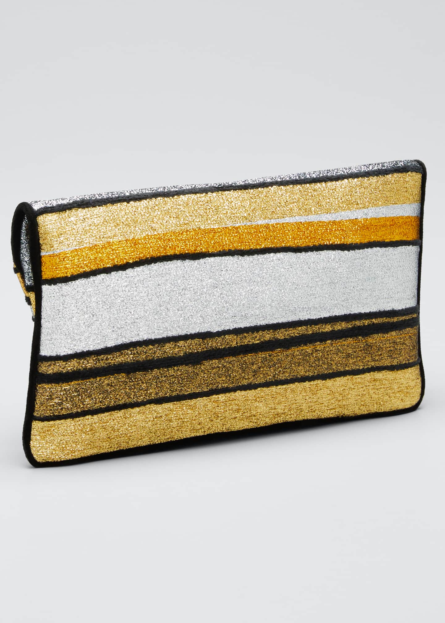 Image 3 of 5: Metallic Striped Clutch Bag