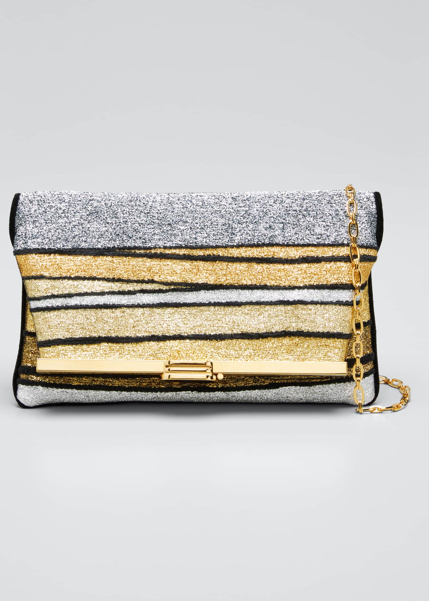Image 1 of 5: Metallic Striped Clutch Bag