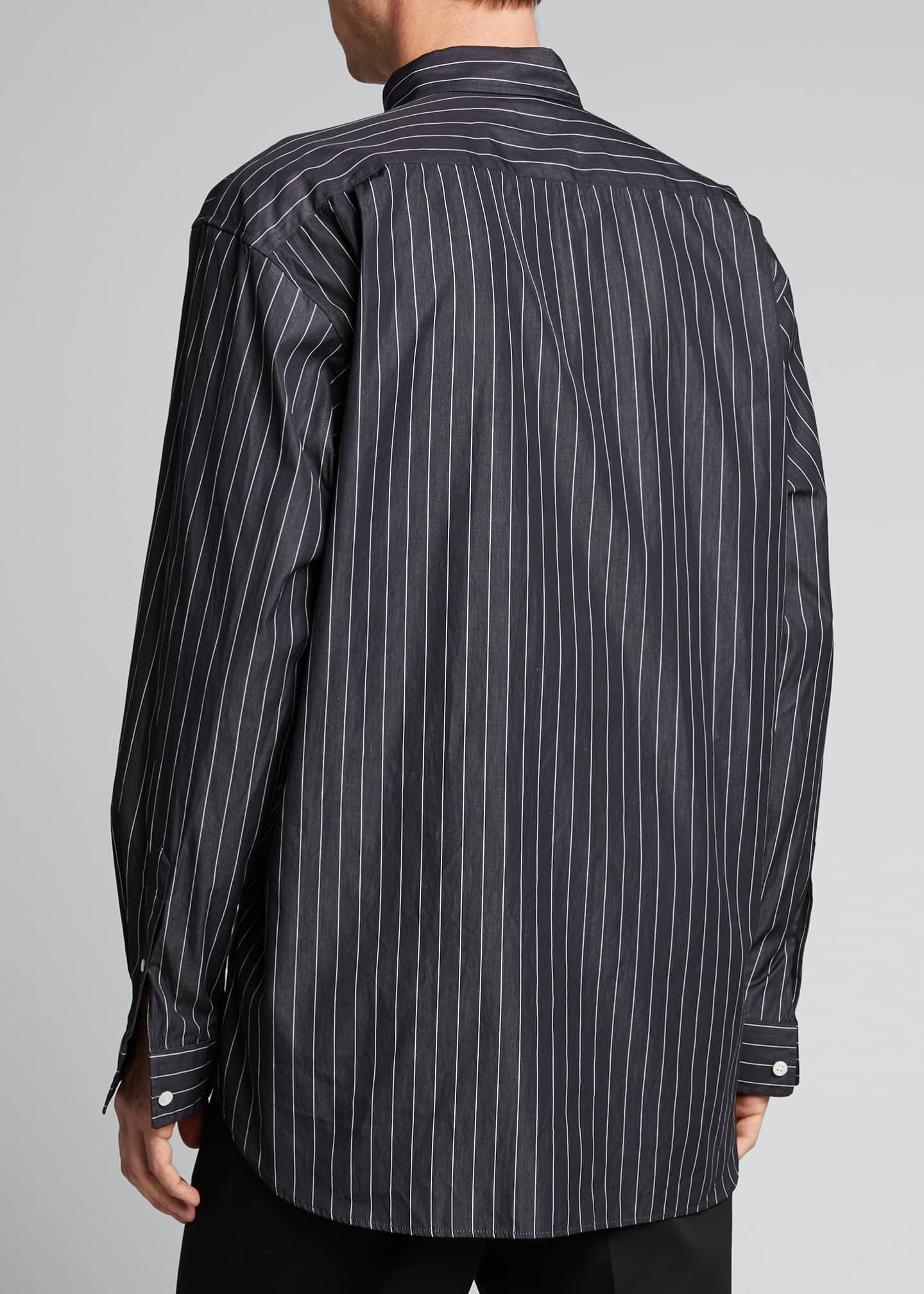 Image 2 of 5: Men's Pinstripe Poplin Logo Sport Shirt