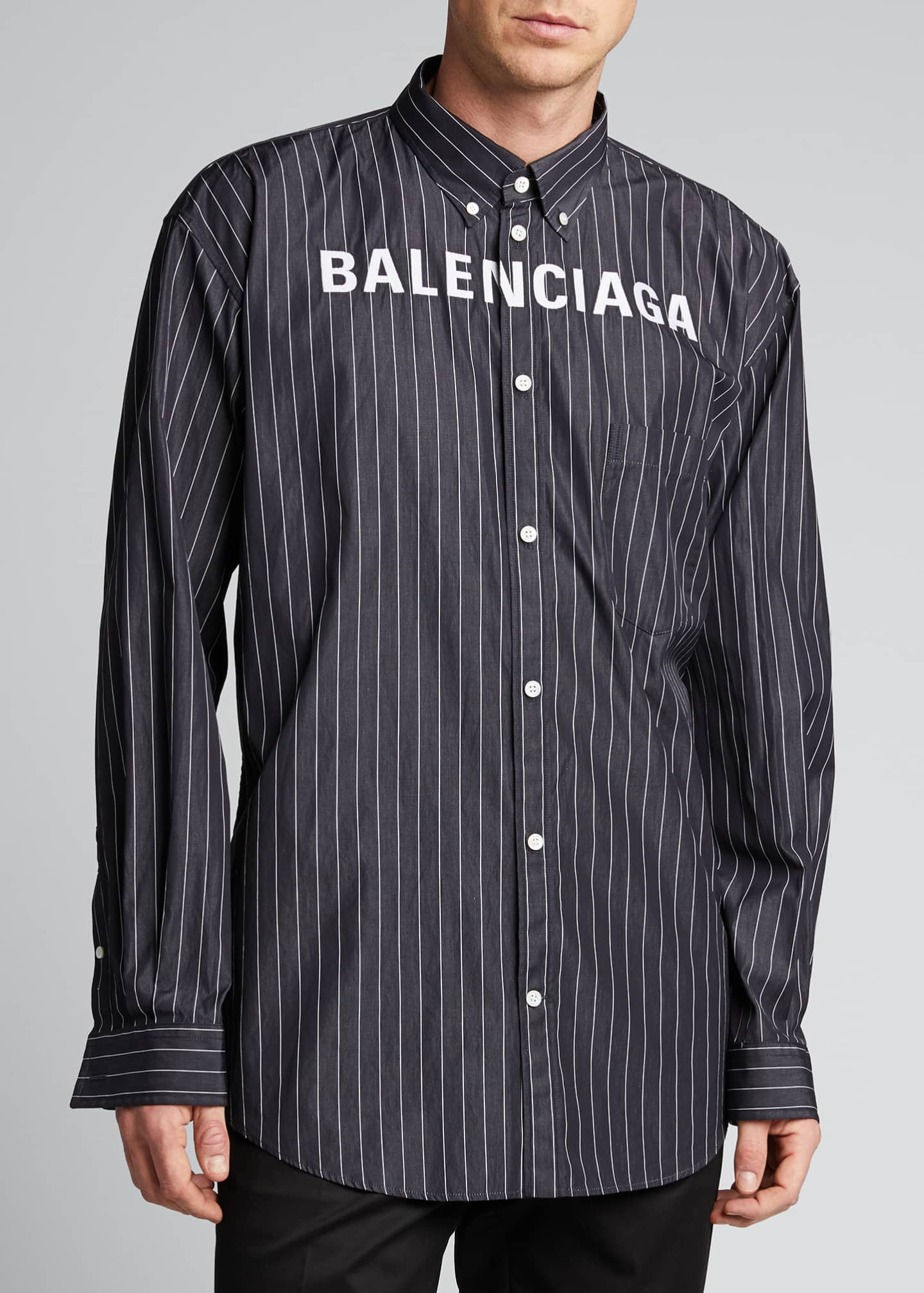 Image 3 of 5: Men's Pinstripe Poplin Logo Sport Shirt