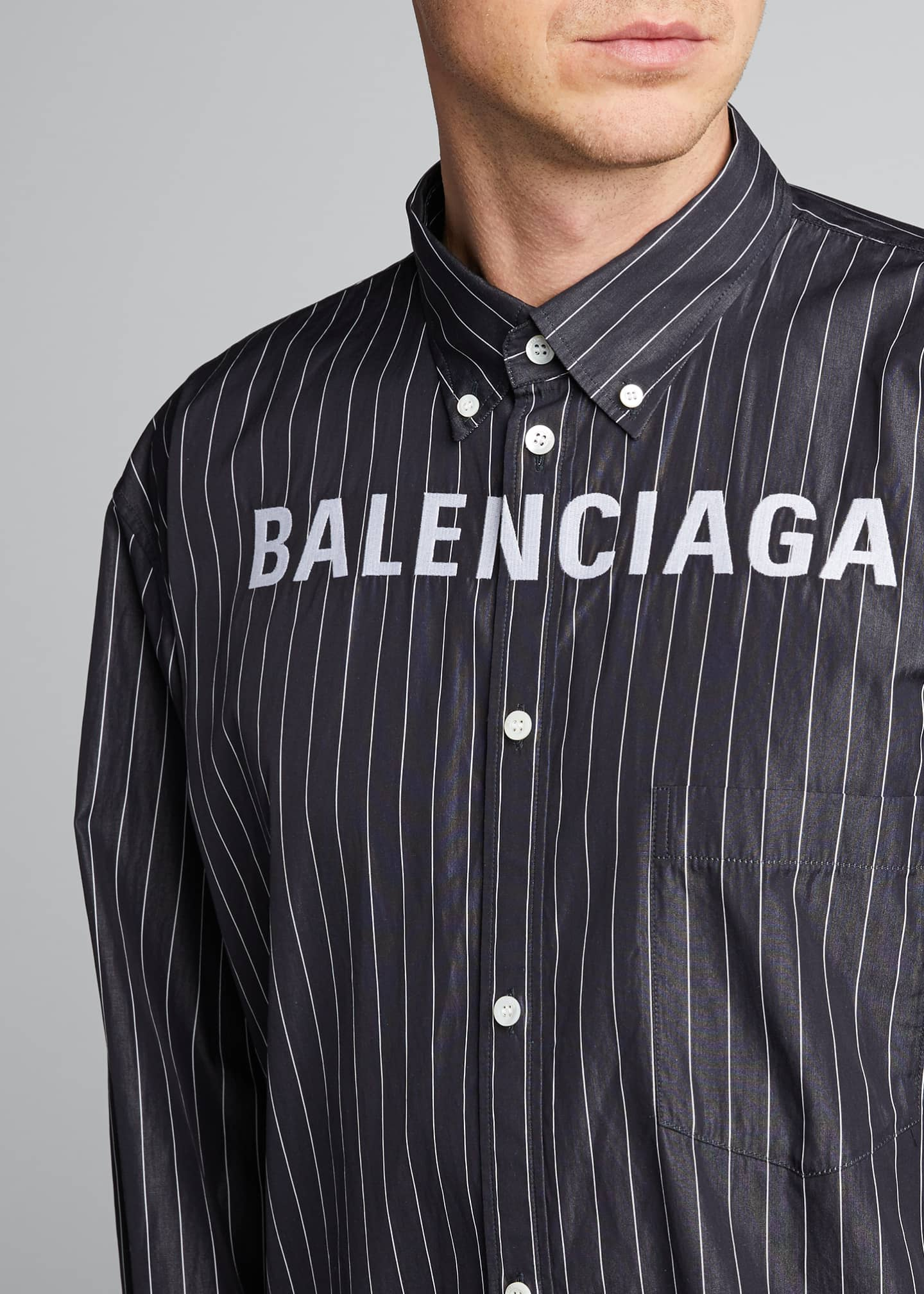 Image 4 of 5: Men's Pinstripe Poplin Logo Sport Shirt