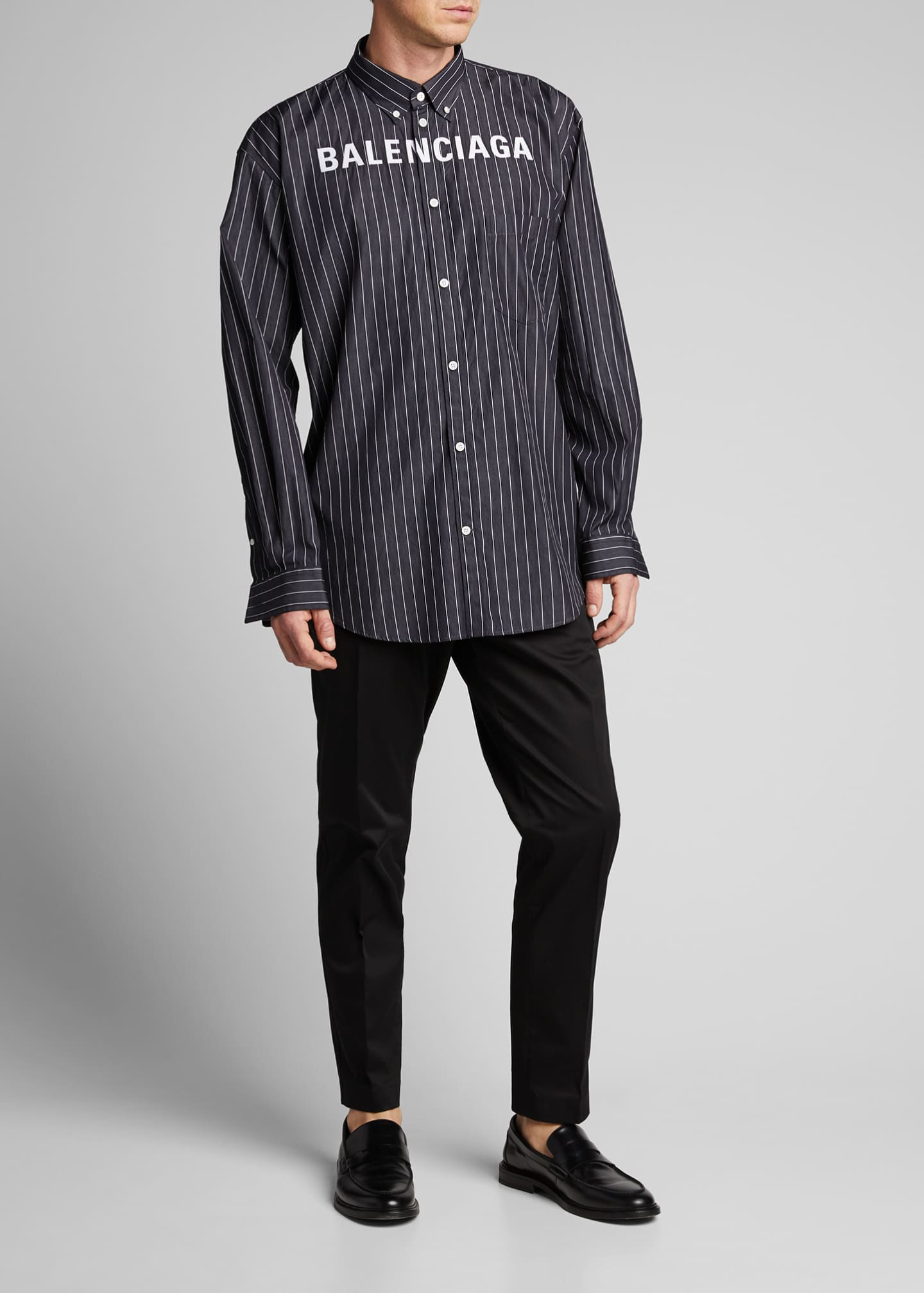 Image 1 of 5: Men's Pinstripe Poplin Logo Sport Shirt