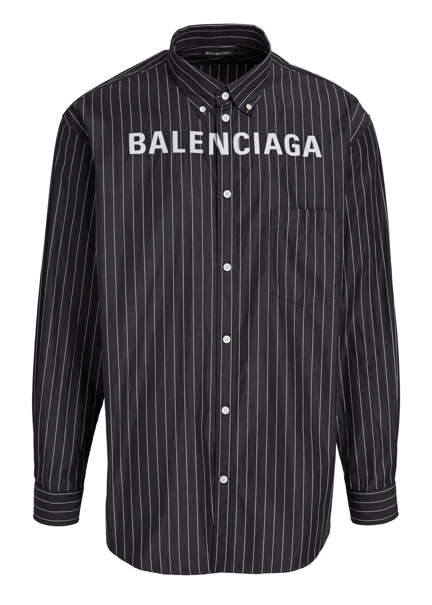 Image 5 of 5: Men's Pinstripe Poplin Logo Sport Shirt