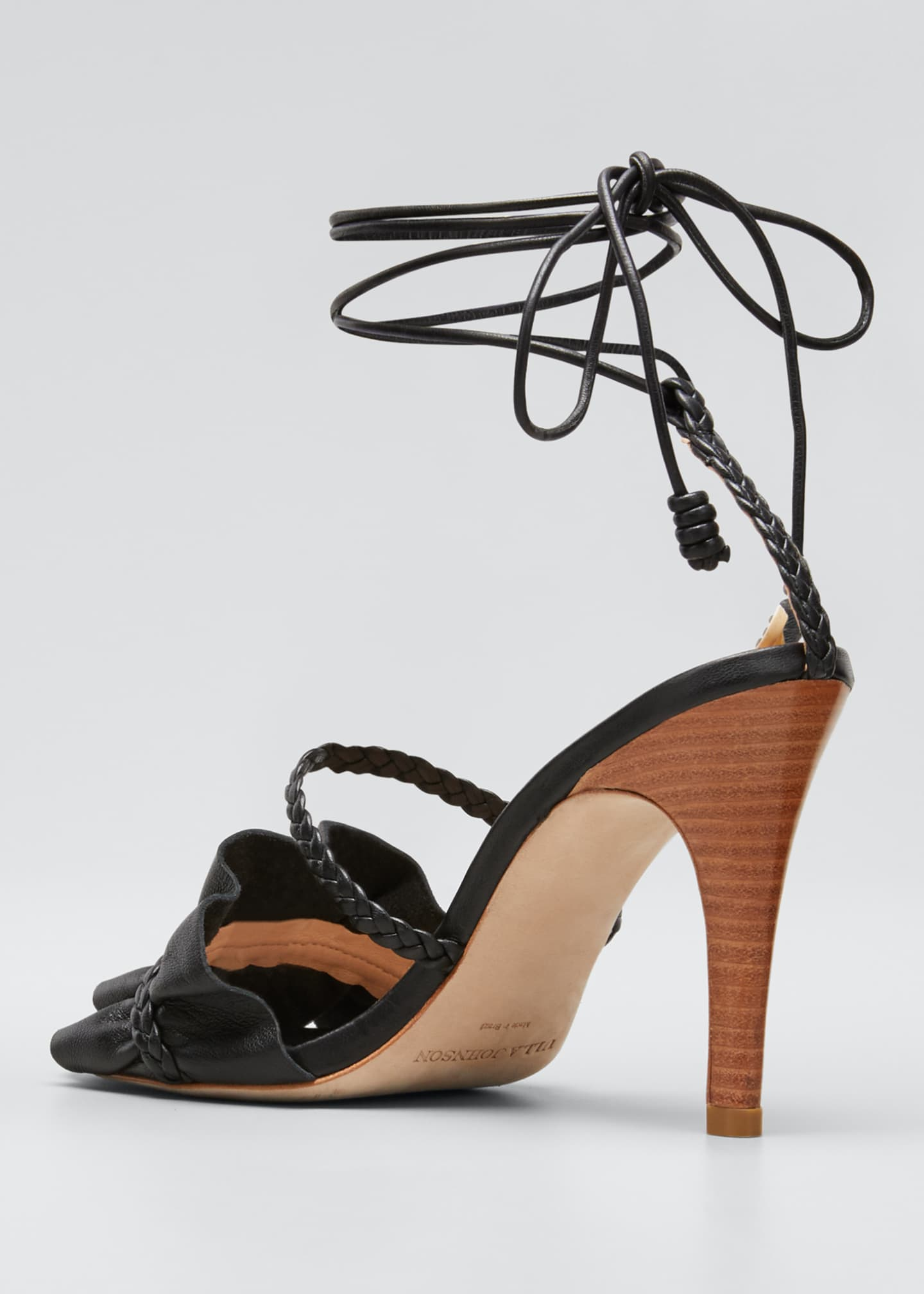 Image 2 of 3: Flora Metallic Ruffle Ankle-Wrap Sandals