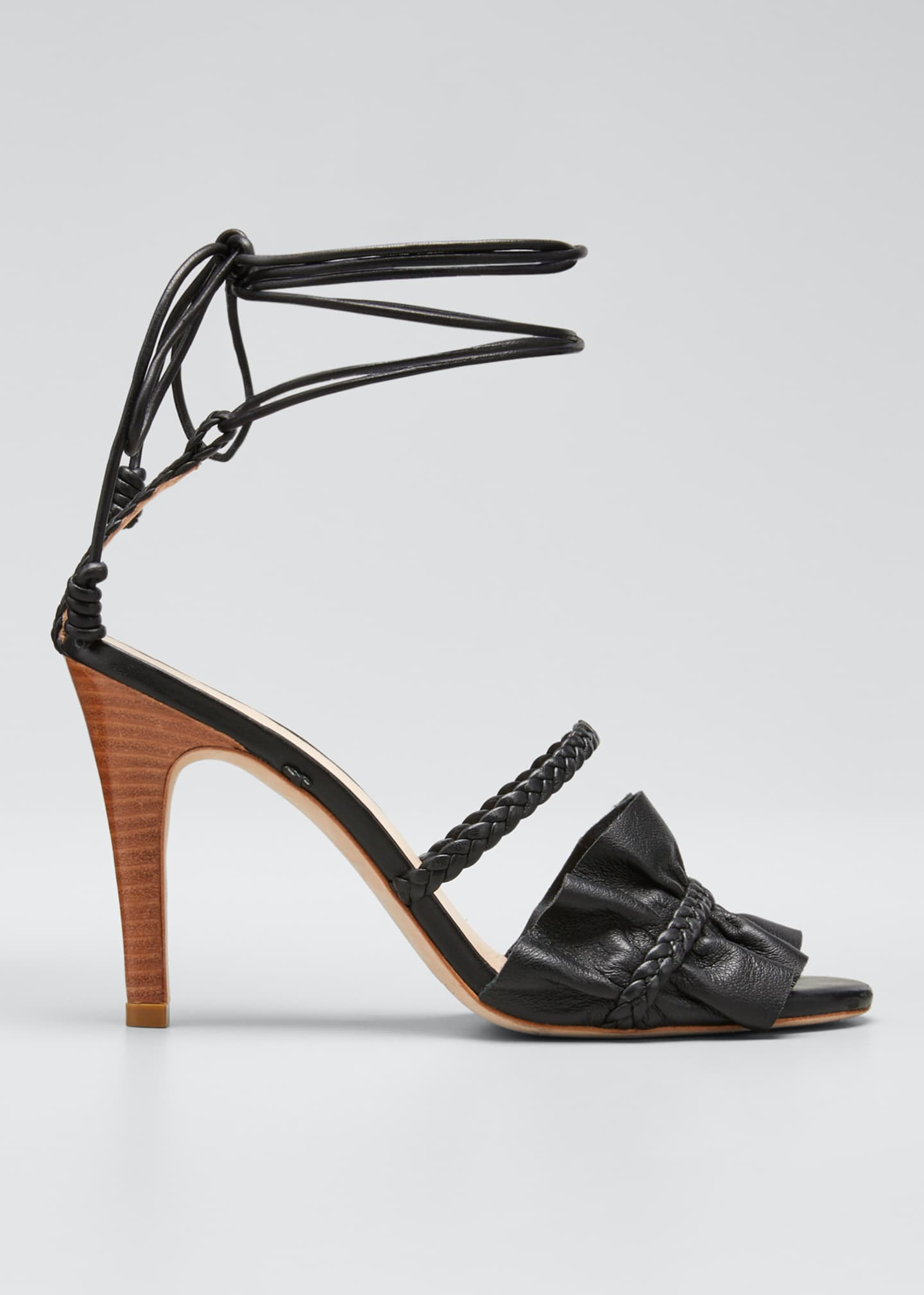 Image 1 of 3: Flora Metallic Ruffle Ankle-Wrap Sandals