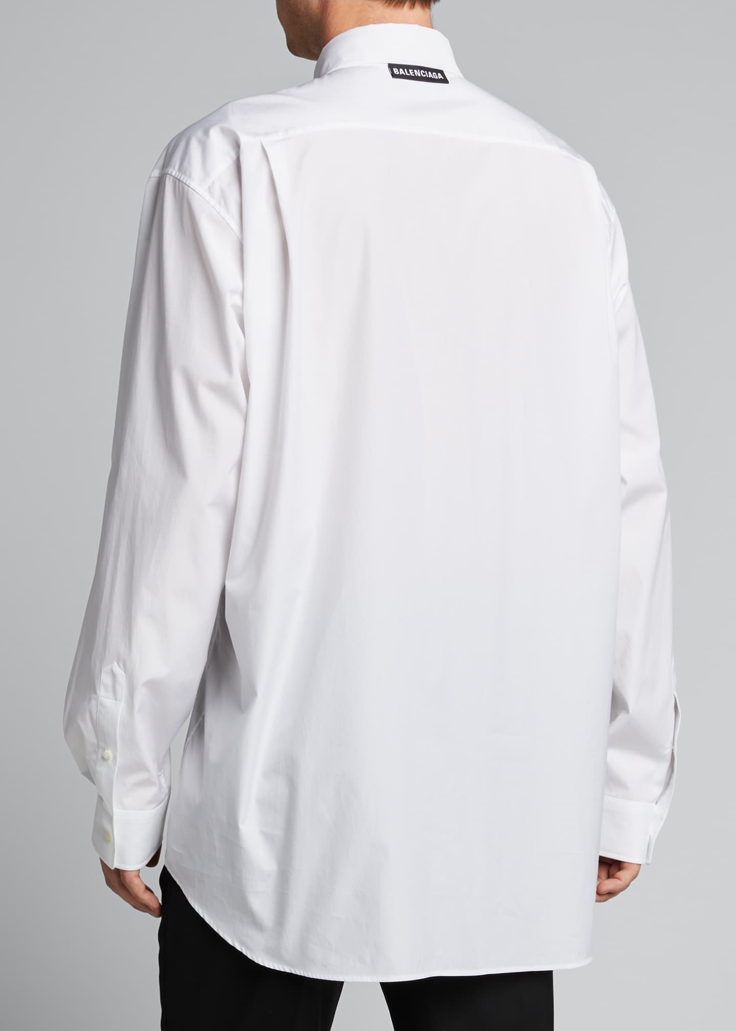 Image 2 of 4: Men's Solid Poplin Point-Collar Sport Shirt