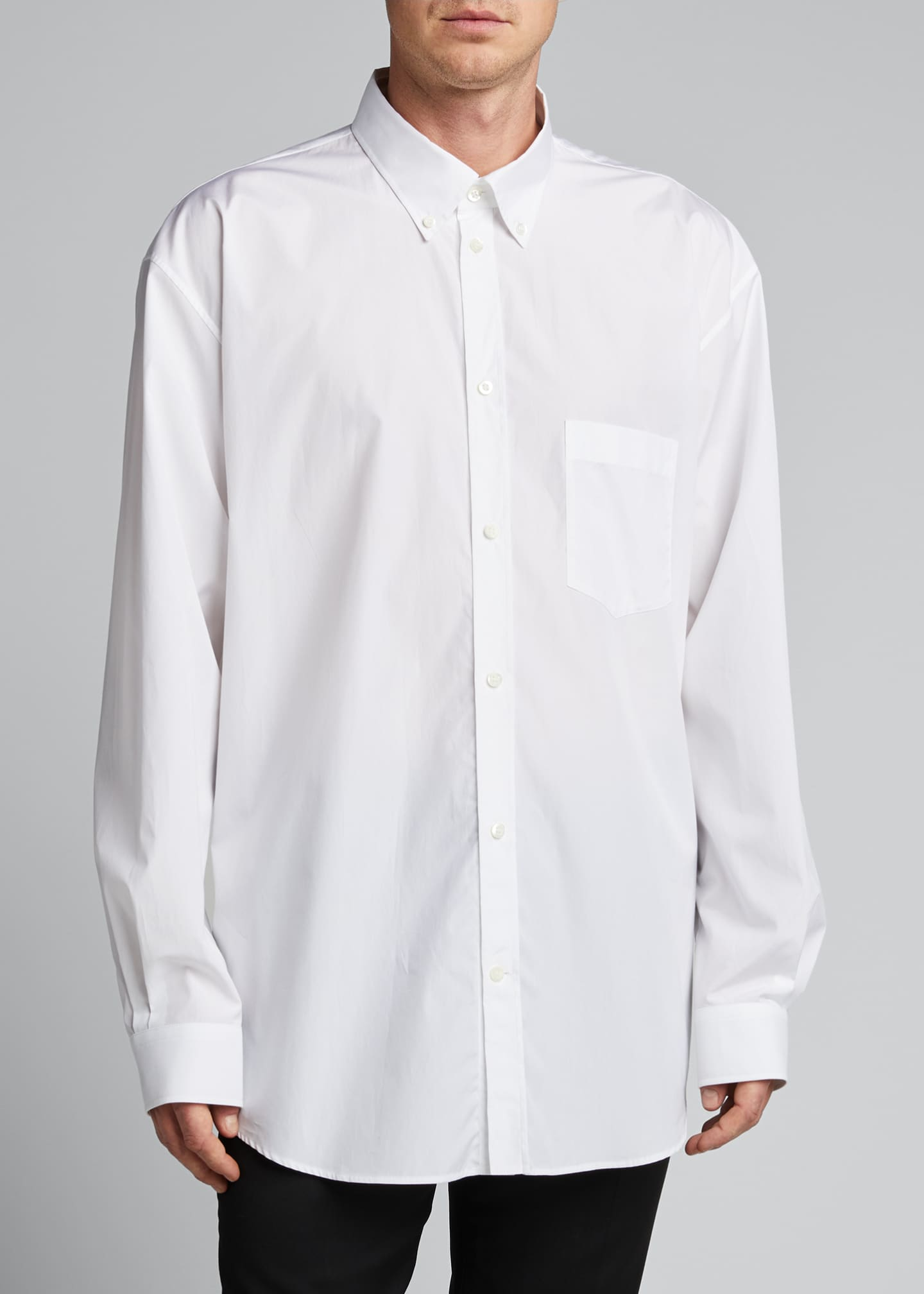 Image 3 of 4: Men's Solid Poplin Point-Collar Sport Shirt