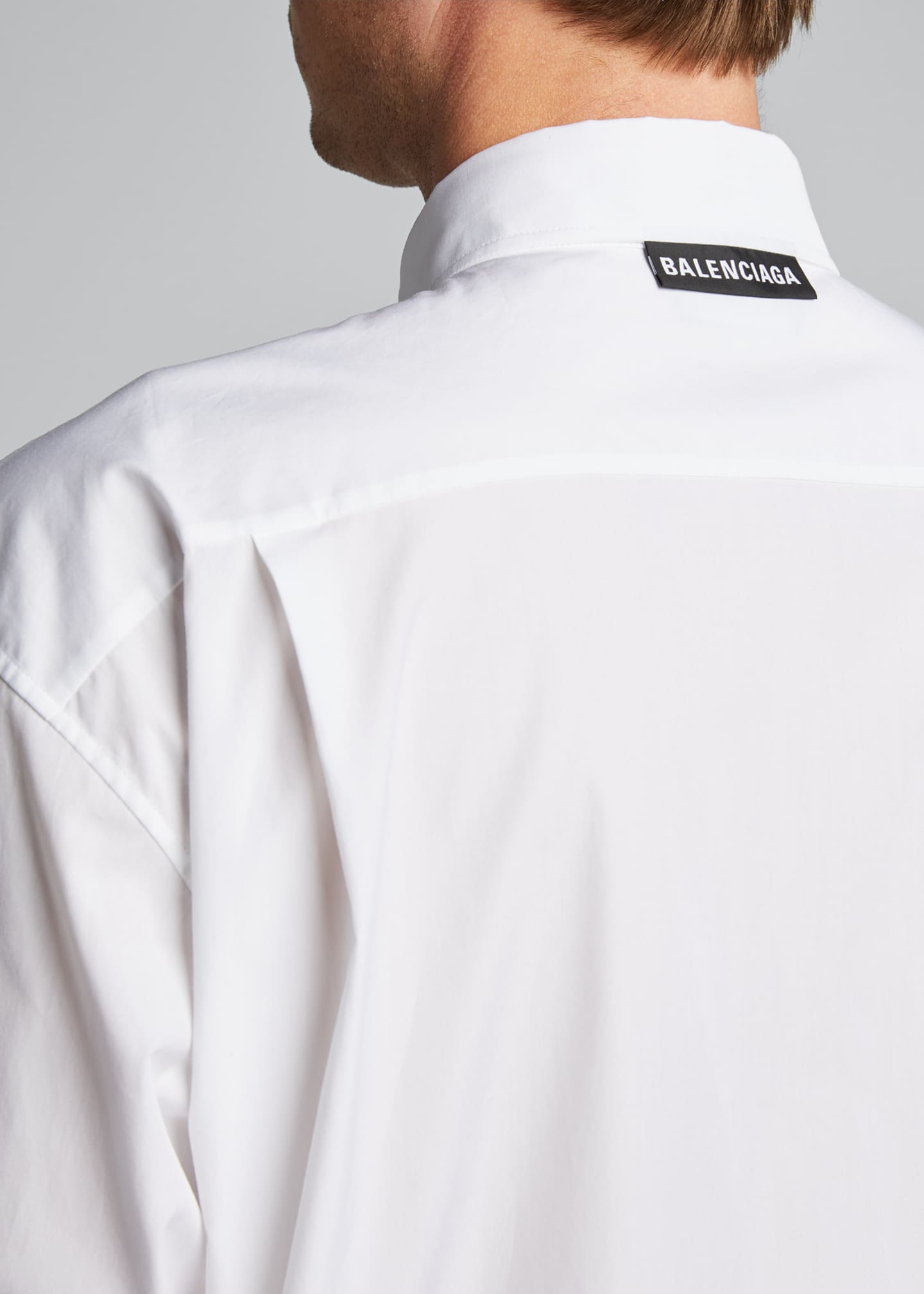 Image 4 of 4: Men's Solid Poplin Point-Collar Sport Shirt
