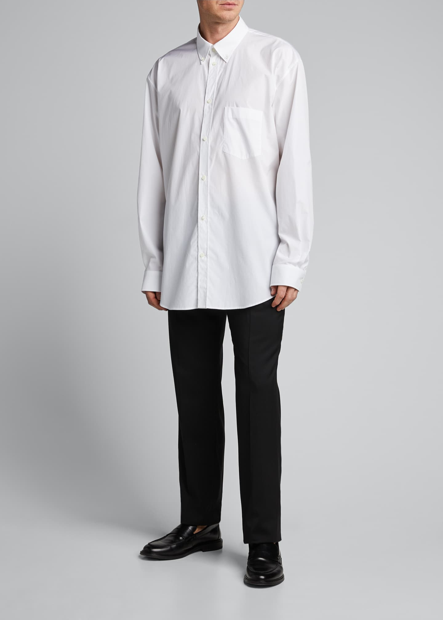 Image 1 of 4: Men's Solid Poplin Point-Collar Sport Shirt