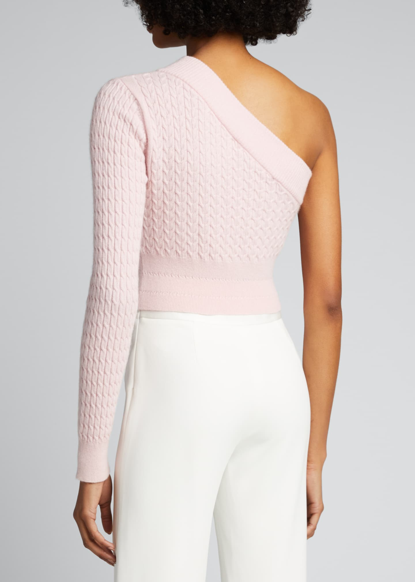 Image 2 of 5: Welling Cashmere One-Shoulder Crop Sweater