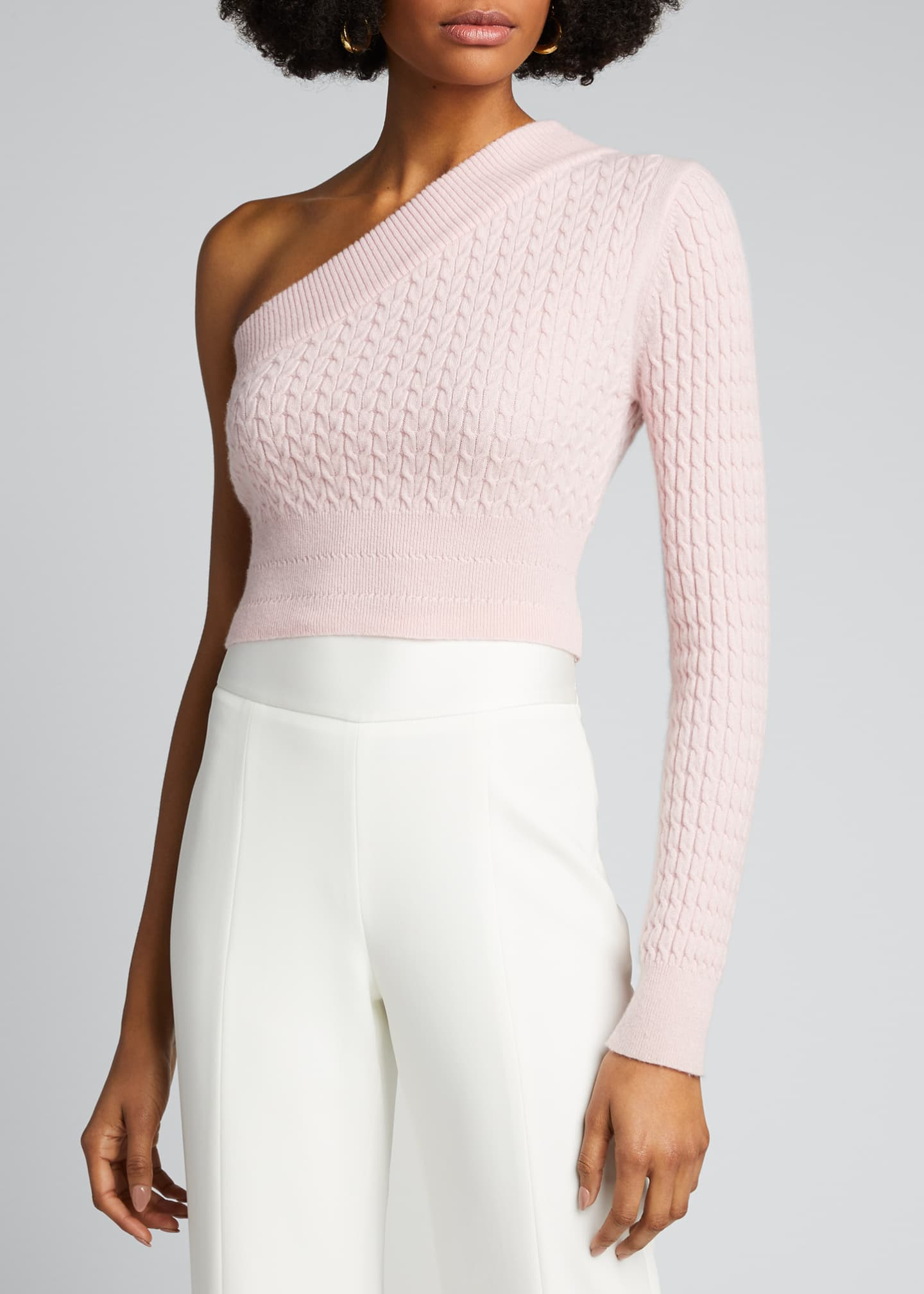 Image 3 of 5: Welling Cashmere One-Shoulder Crop Sweater