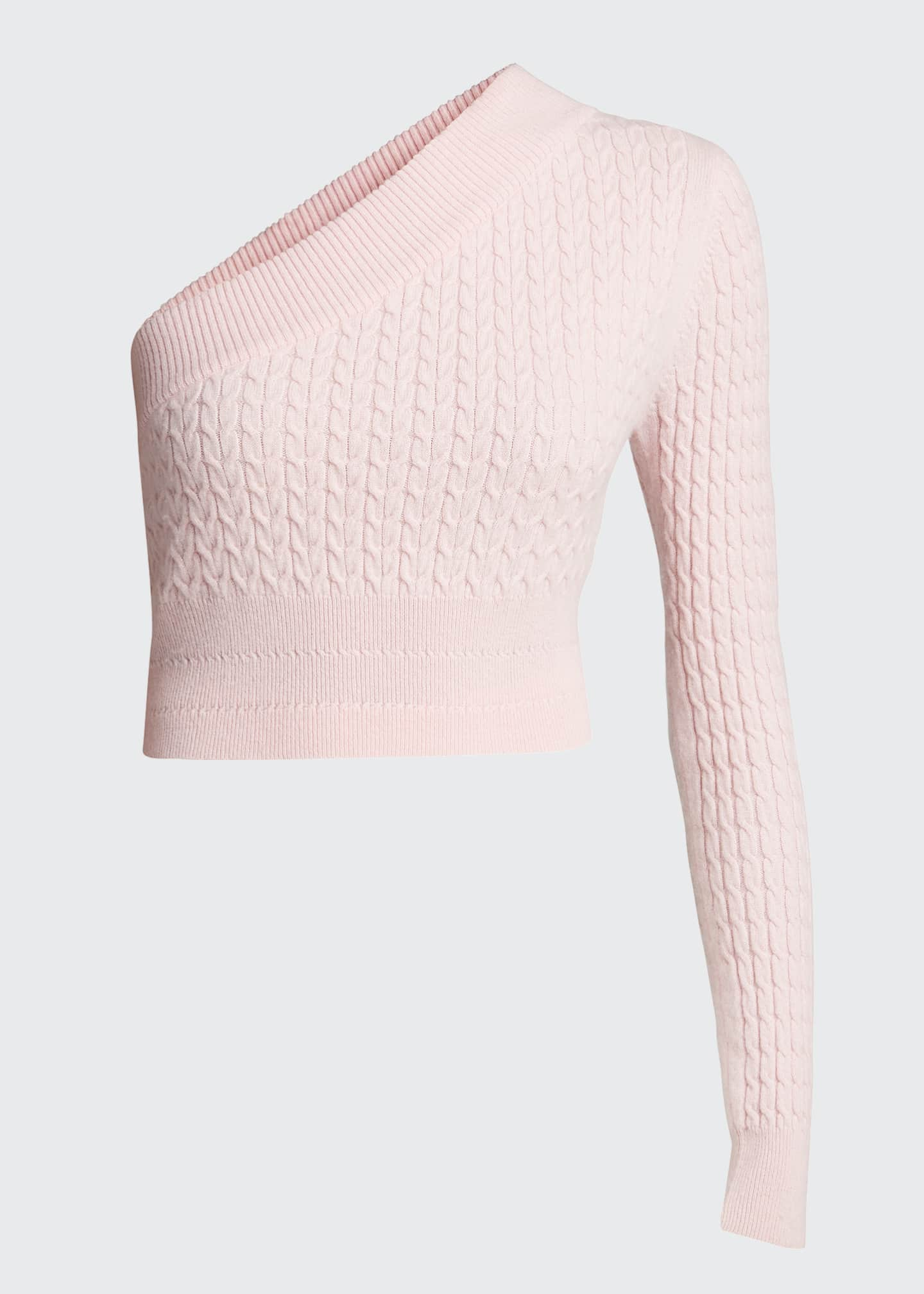 Image 5 of 5: Welling Cashmere One-Shoulder Crop Sweater
