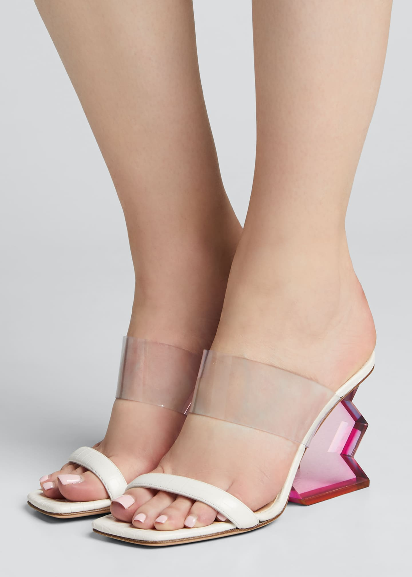 Image 2 of 5: Aurora Structural-Heel Leather Mule Sandals