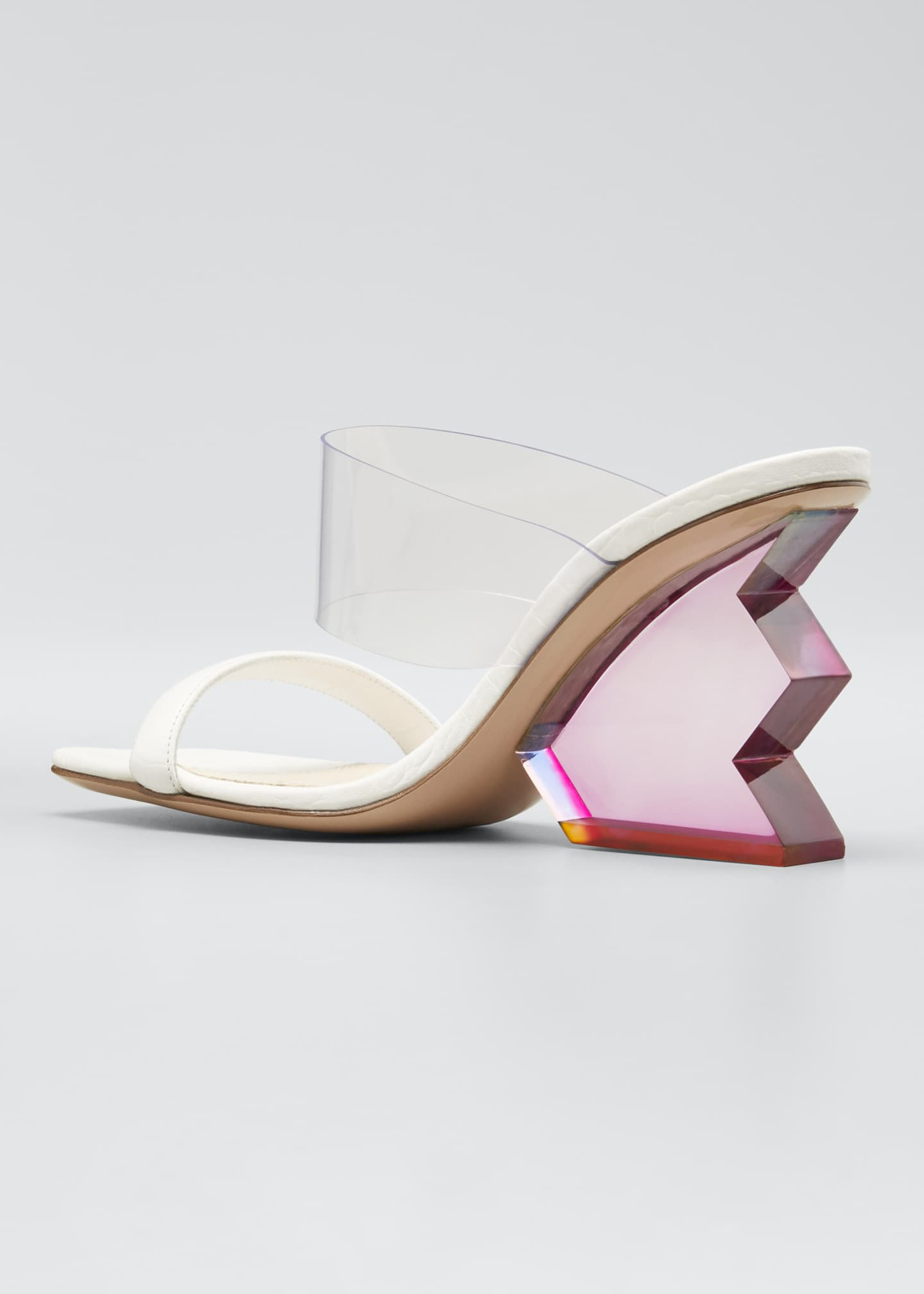 Image 4 of 5: Aurora Structural-Heel Leather Mule Sandals