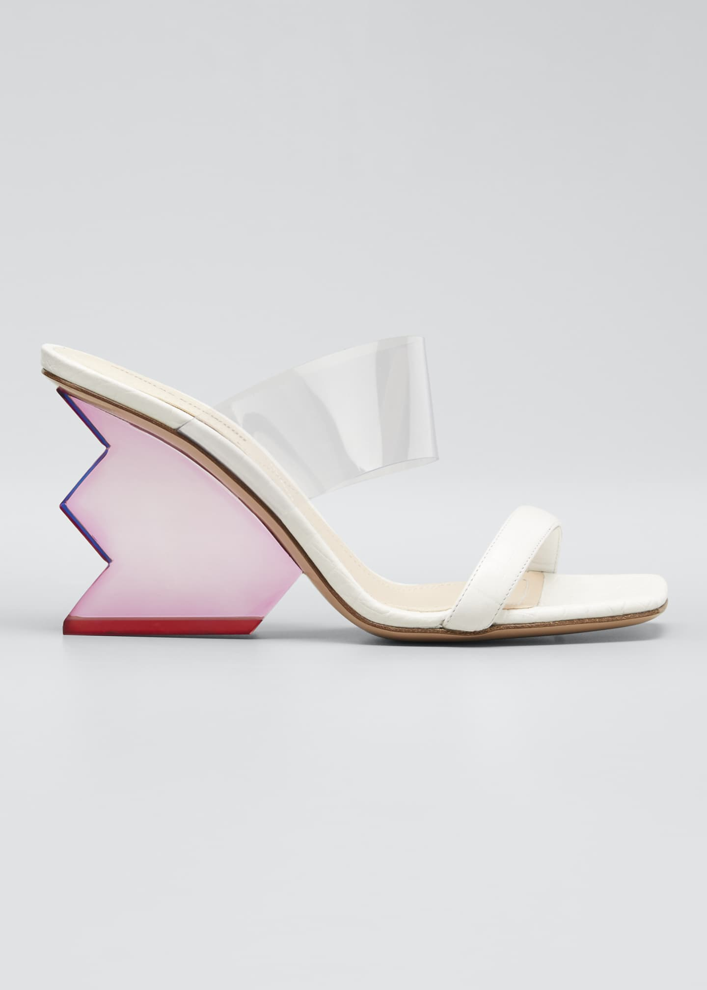 Image 1 of 5: Aurora Structural-Heel Leather Mule Sandals