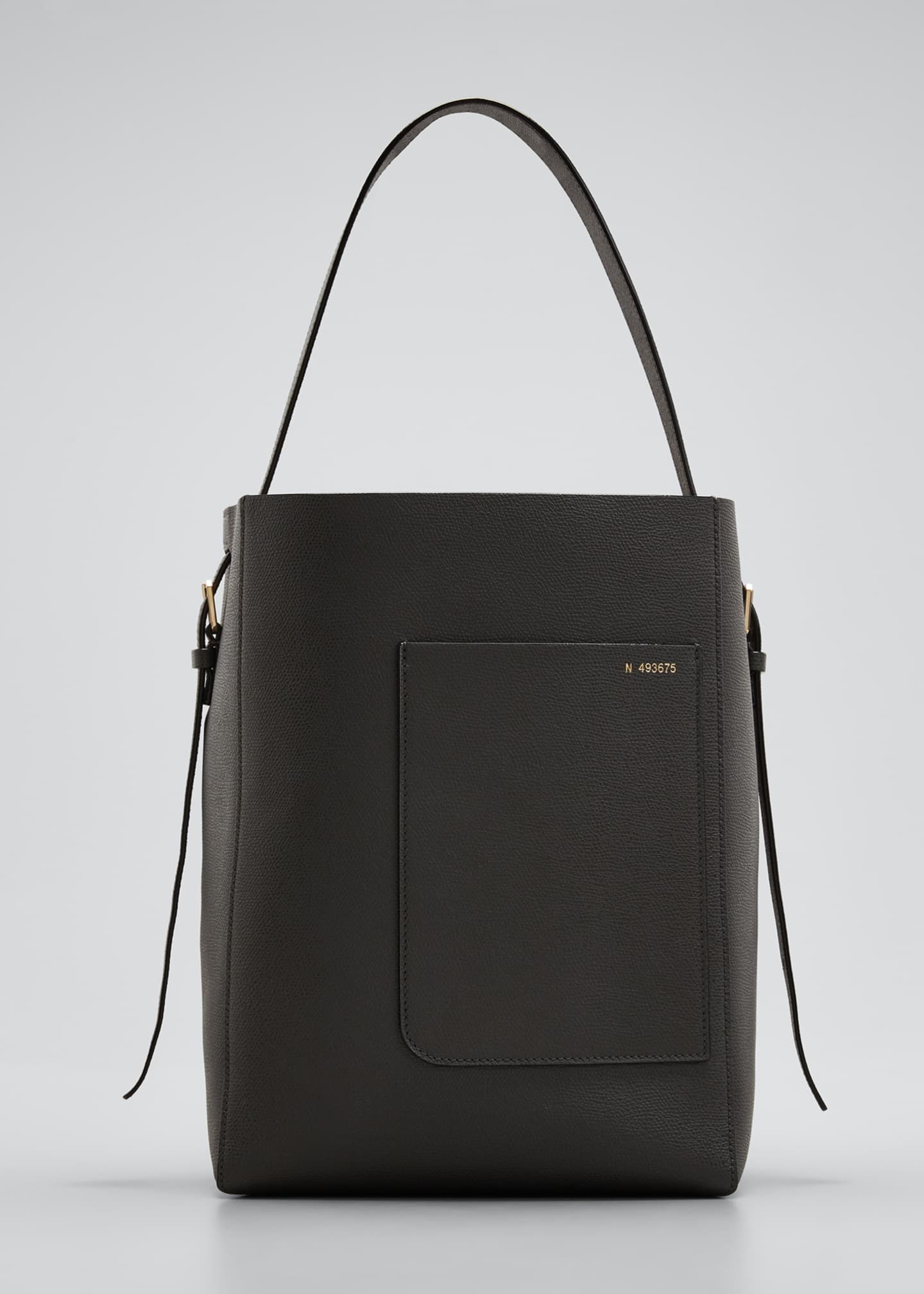 Image 1 of 5: Leather Bucket Tote Bag