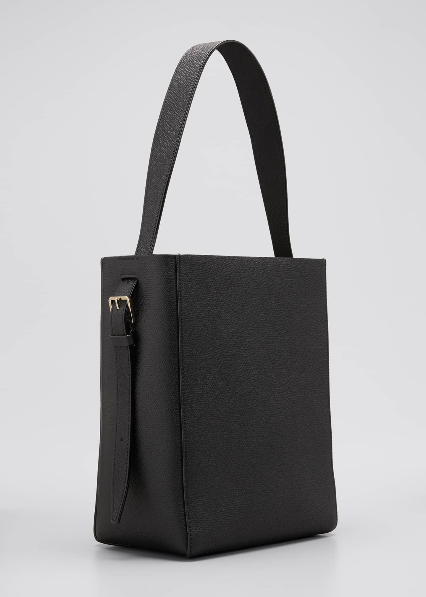 Image 3 of 5: Pebbled Leather Top Handle Bucket Tote Bag