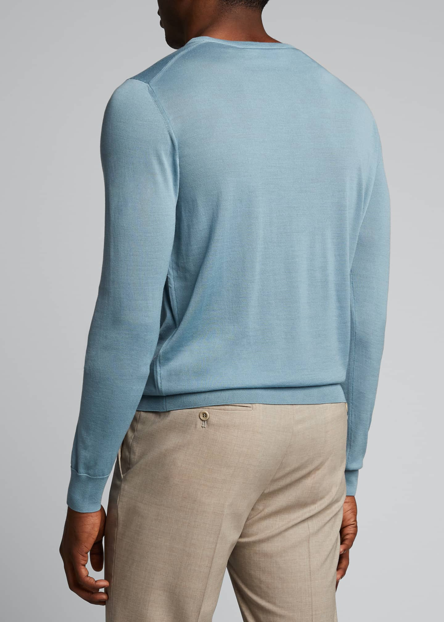 Image 2 of 5: Men's Plain Knit Wool Sweater