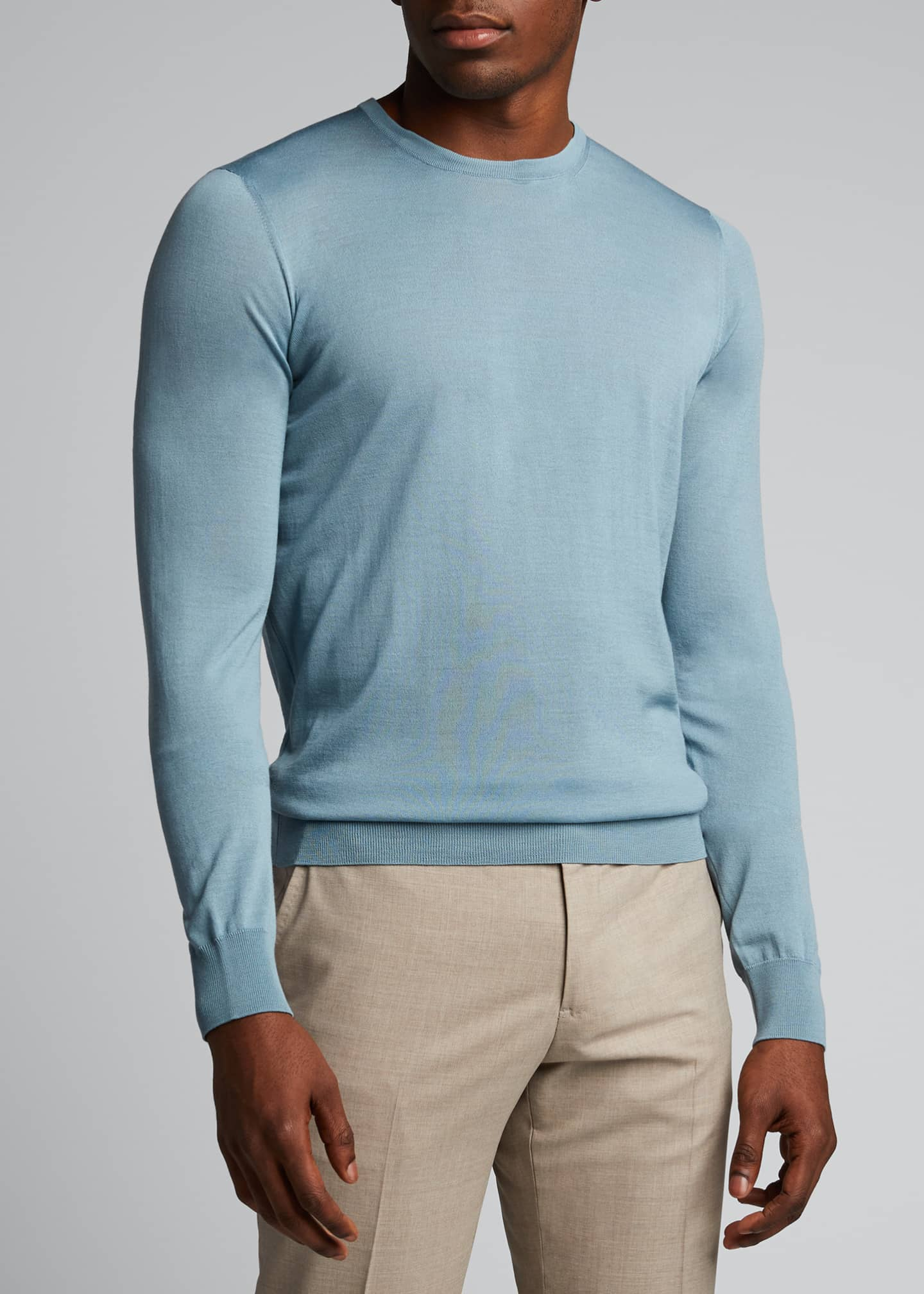 Image 3 of 5: Men's Plain Knit Wool Sweater