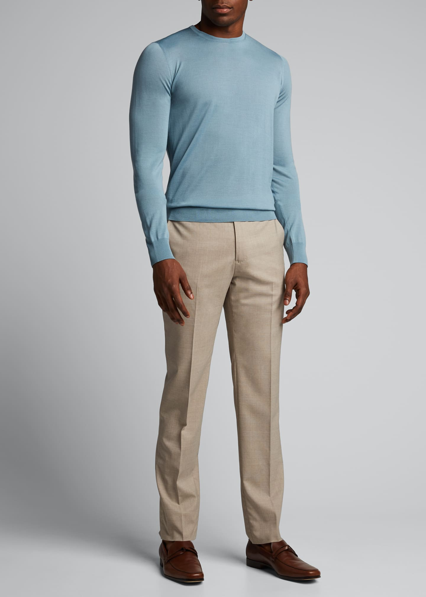 Image 1 of 5: Men's Plain Knit Wool Sweater