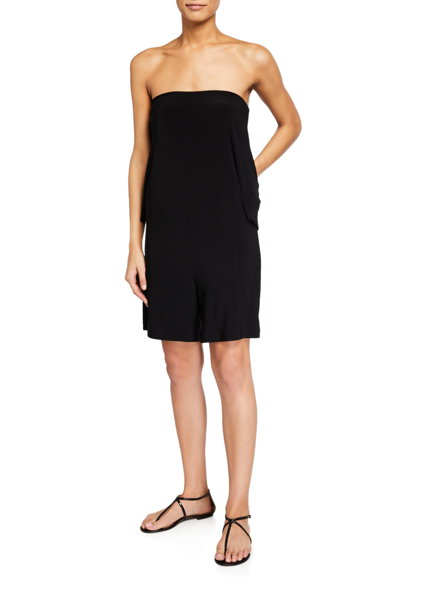 Image 3 of 4: Tie-Front All-In-One Strapless Romper Jumpshort