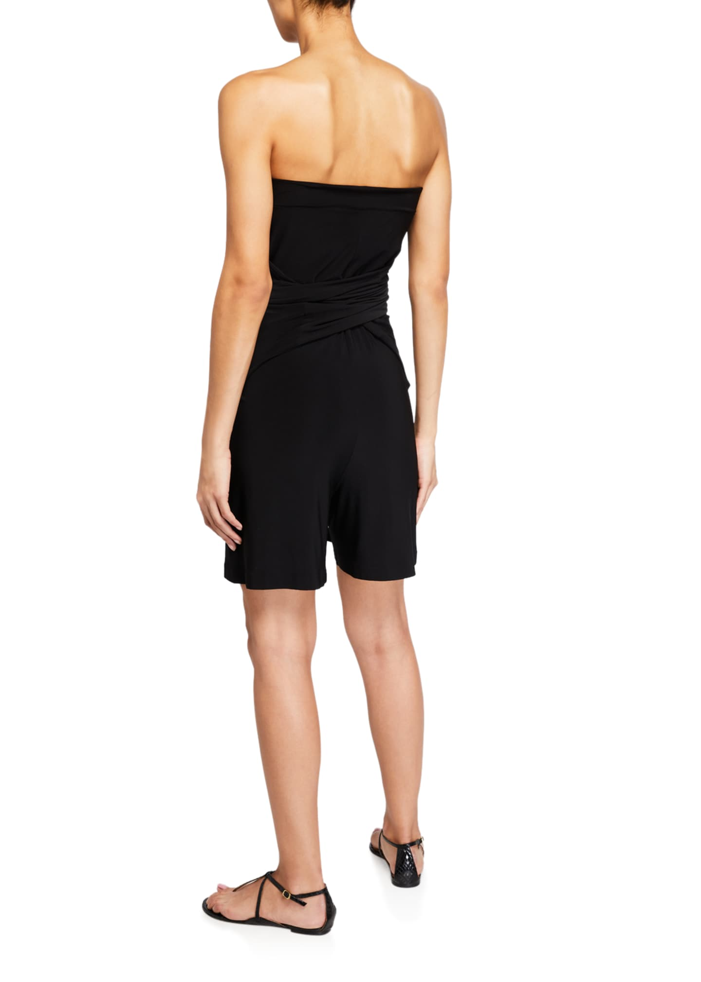 Image 4 of 4: Tie-Front All-In-One Strapless Romper Jumpshort