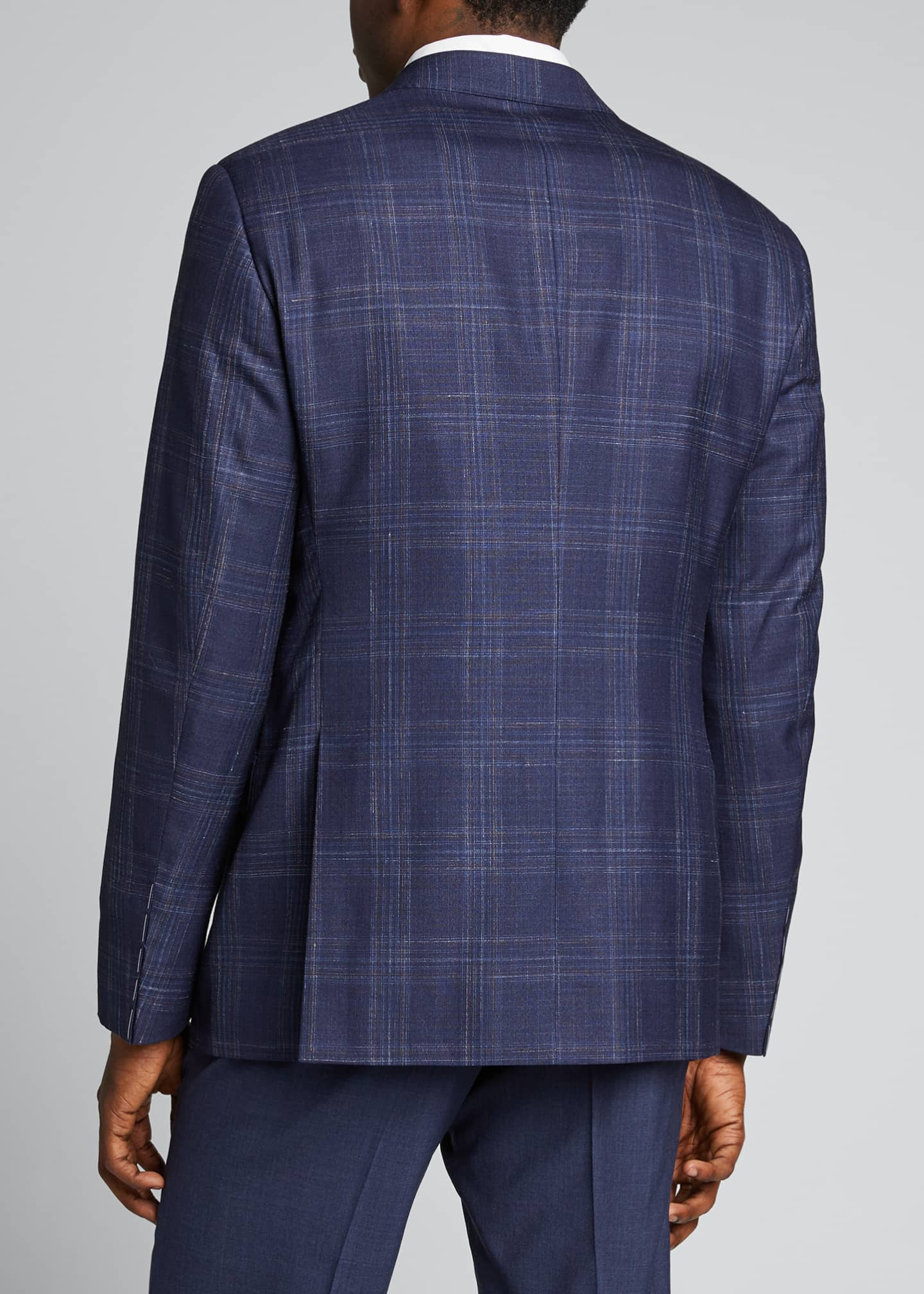 Image 2 of 5: Men's Plaid Wool Two-Button Jacket