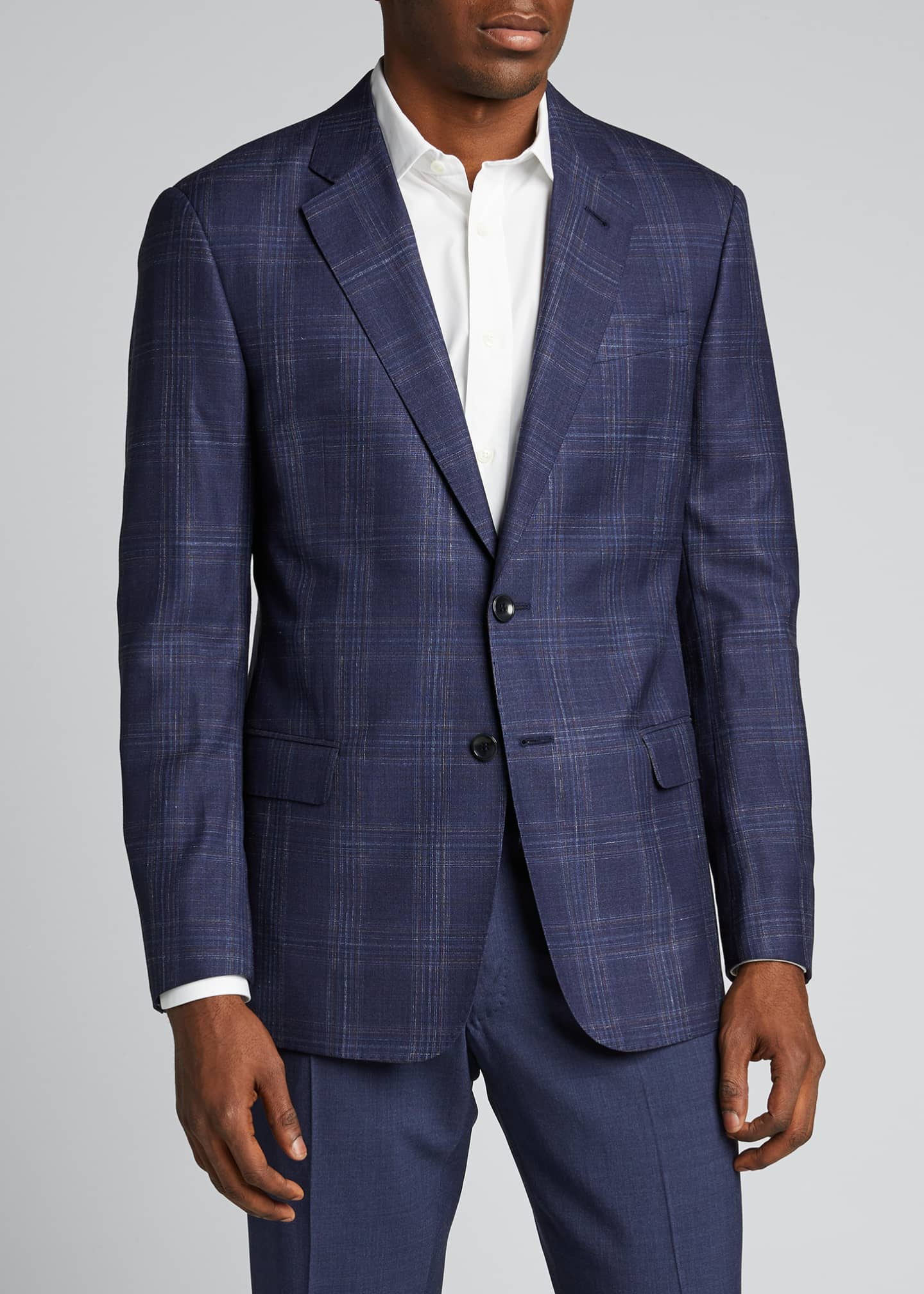 Image 3 of 5: Men's Plaid Wool Two-Button Jacket