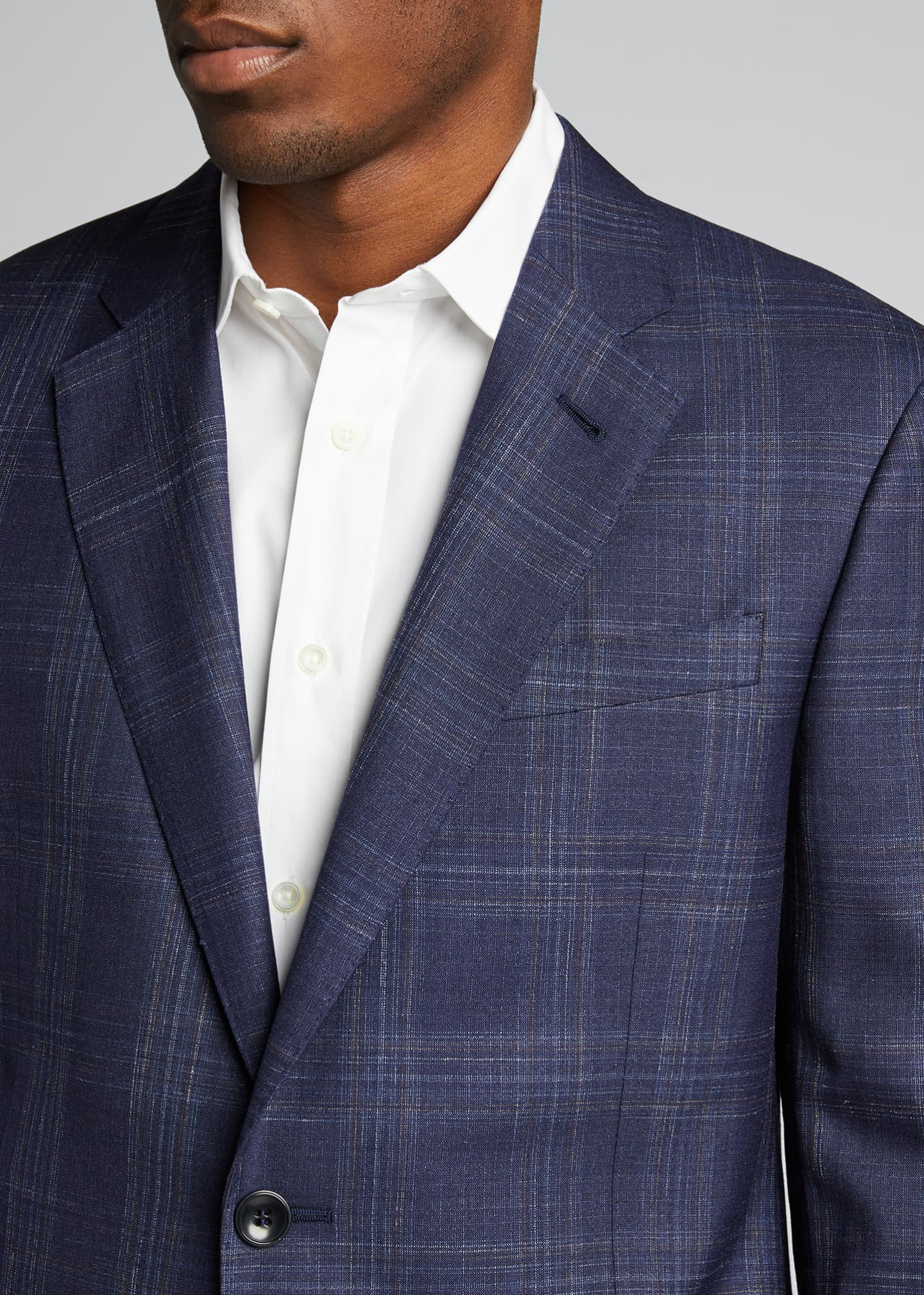 Image 4 of 5: Men's Plaid Wool Two-Button Jacket