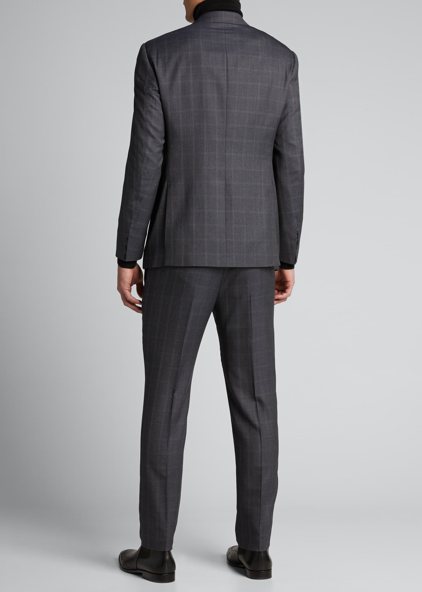 Image 2 of 5: Men's Windowpane Wool Two-Piece Suit