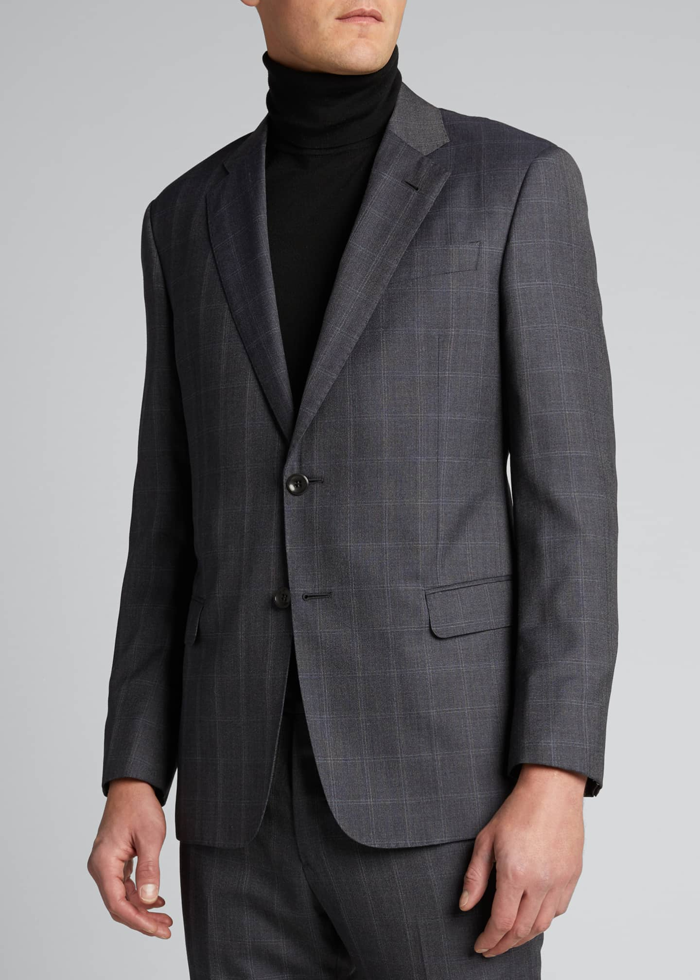 Image 3 of 5: Men's Windowpane Wool Two-Piece Suit