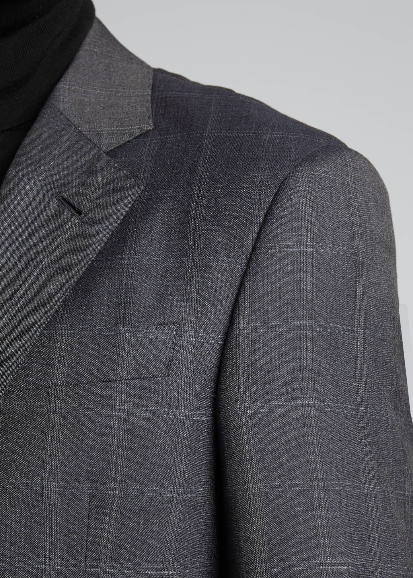 Image 4 of 5: Men's Windowpane Wool Two-Piece Suit