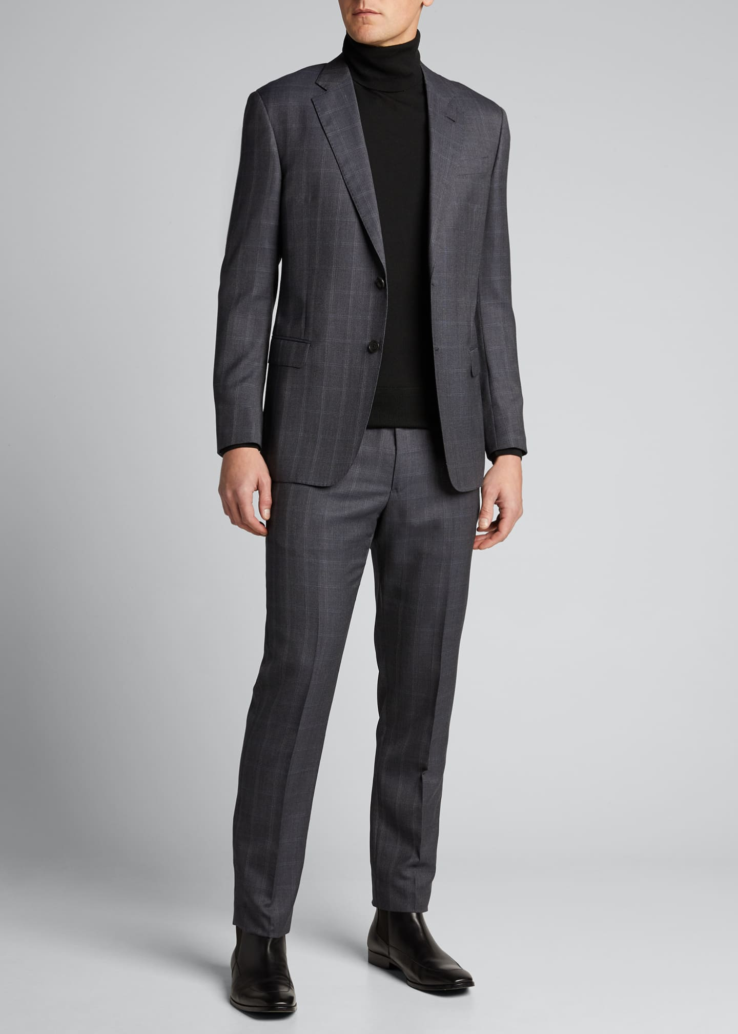 Image 1 of 5: Men's Windowpane Wool Two-Piece Suit