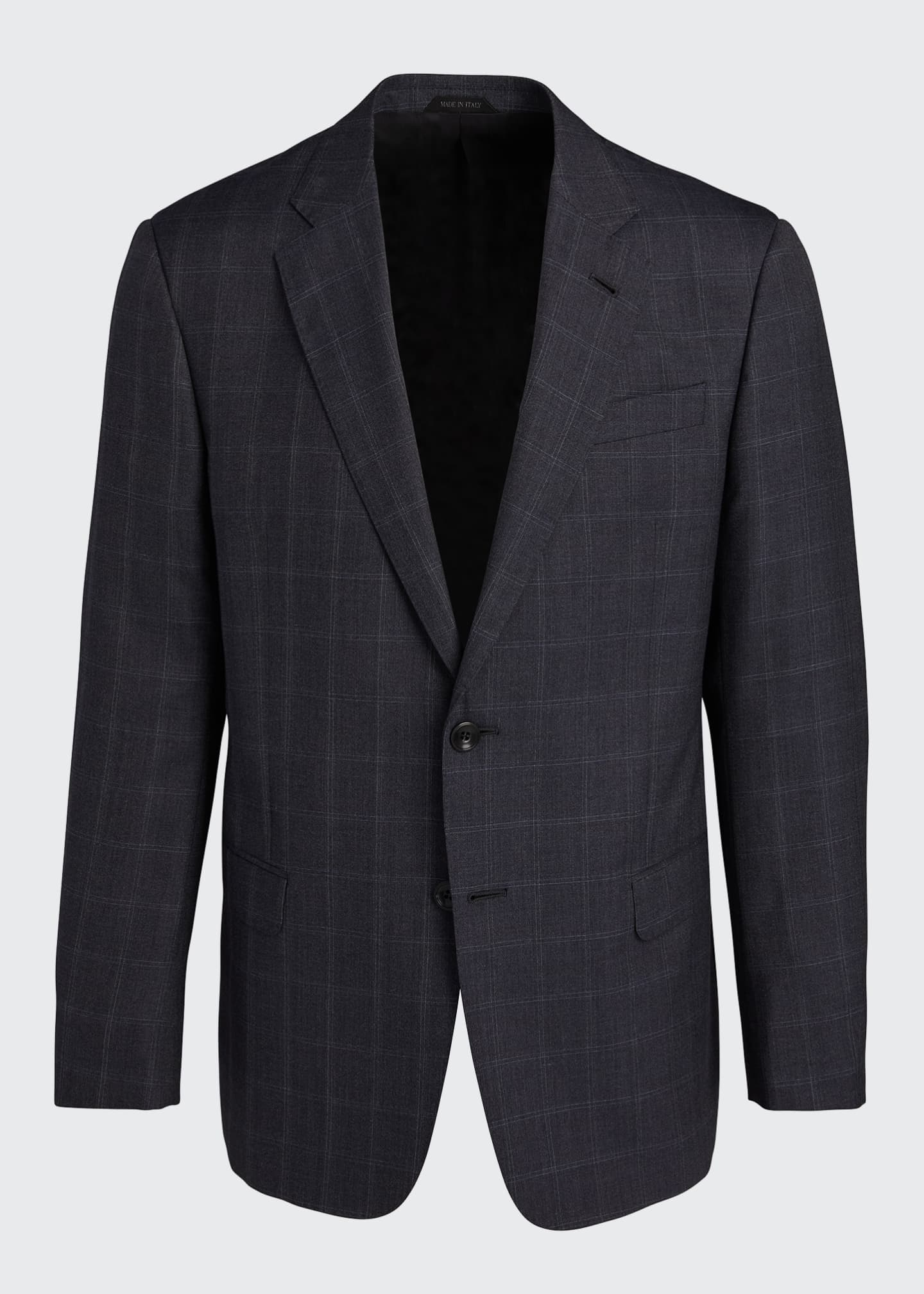 Image 5 of 5: Men's Windowpane Wool Two-Piece Suit