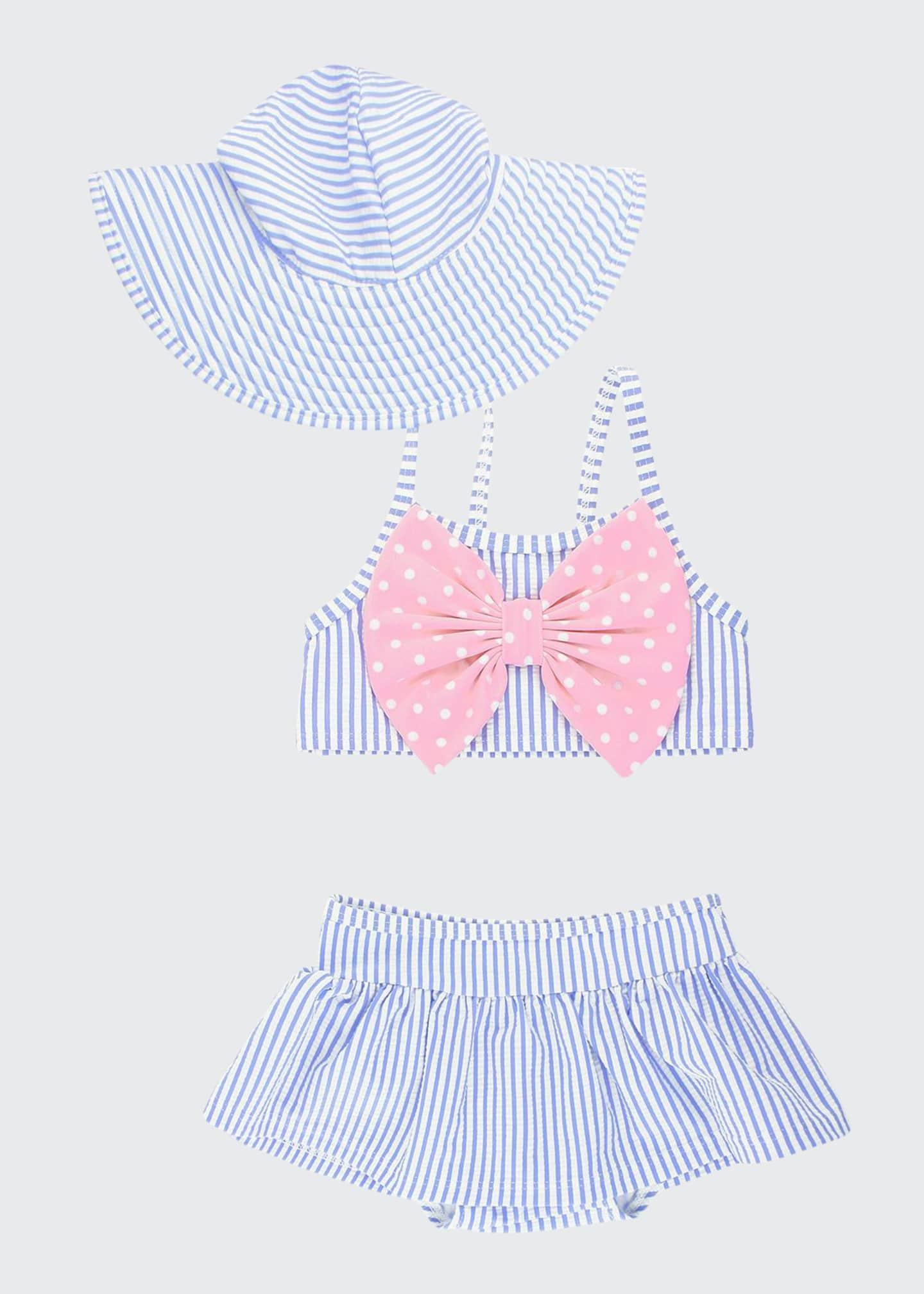 RuffleButts Girl's Seersucker Striped Skirted Bikini w/ Sun